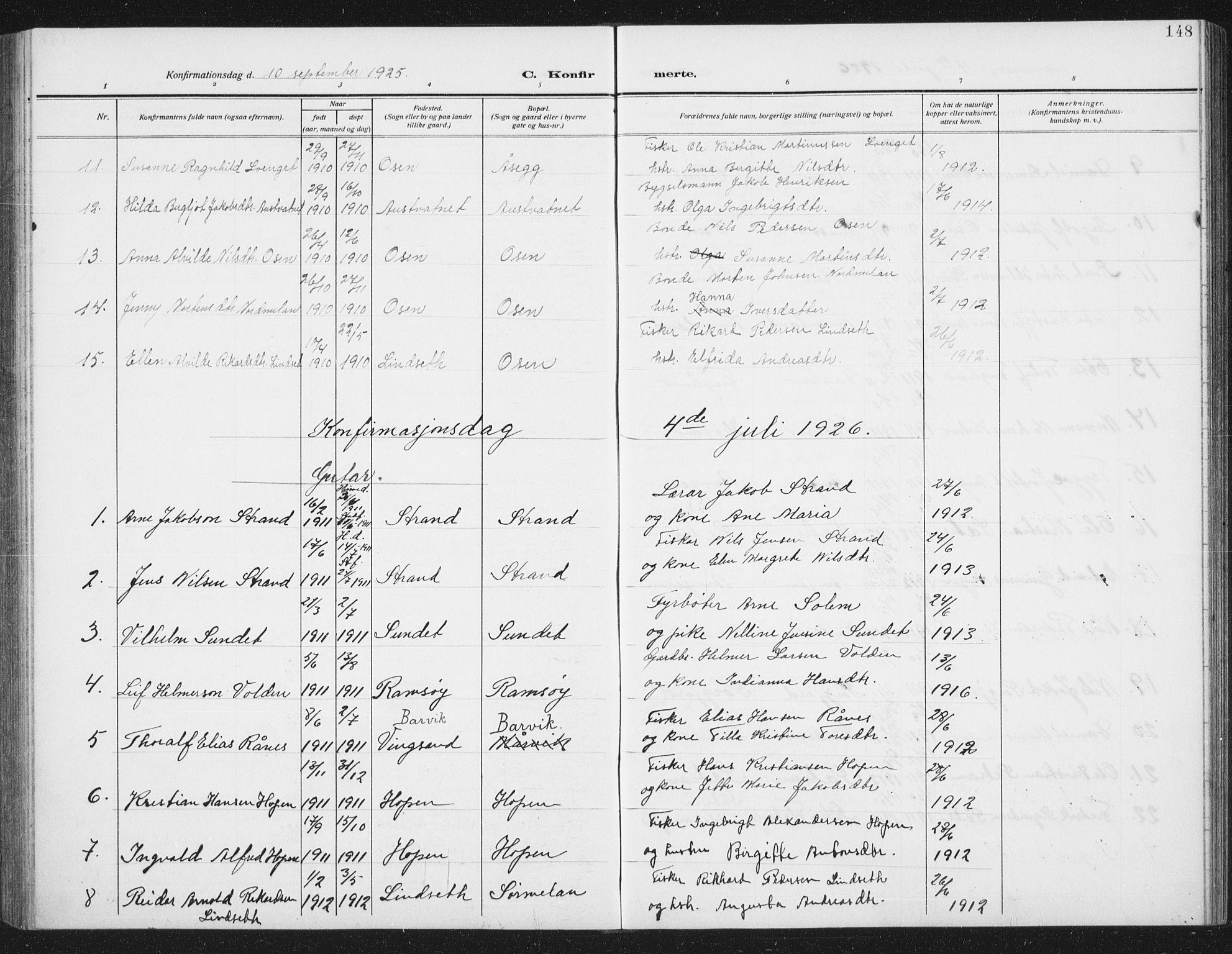 SAT, Ministerialprotokoller, klokkerbøker og fødselsregistre - Sør-Trøndelag, 658/L0727: Klokkerbok nr. 658C03, 1909-1935, s. 148