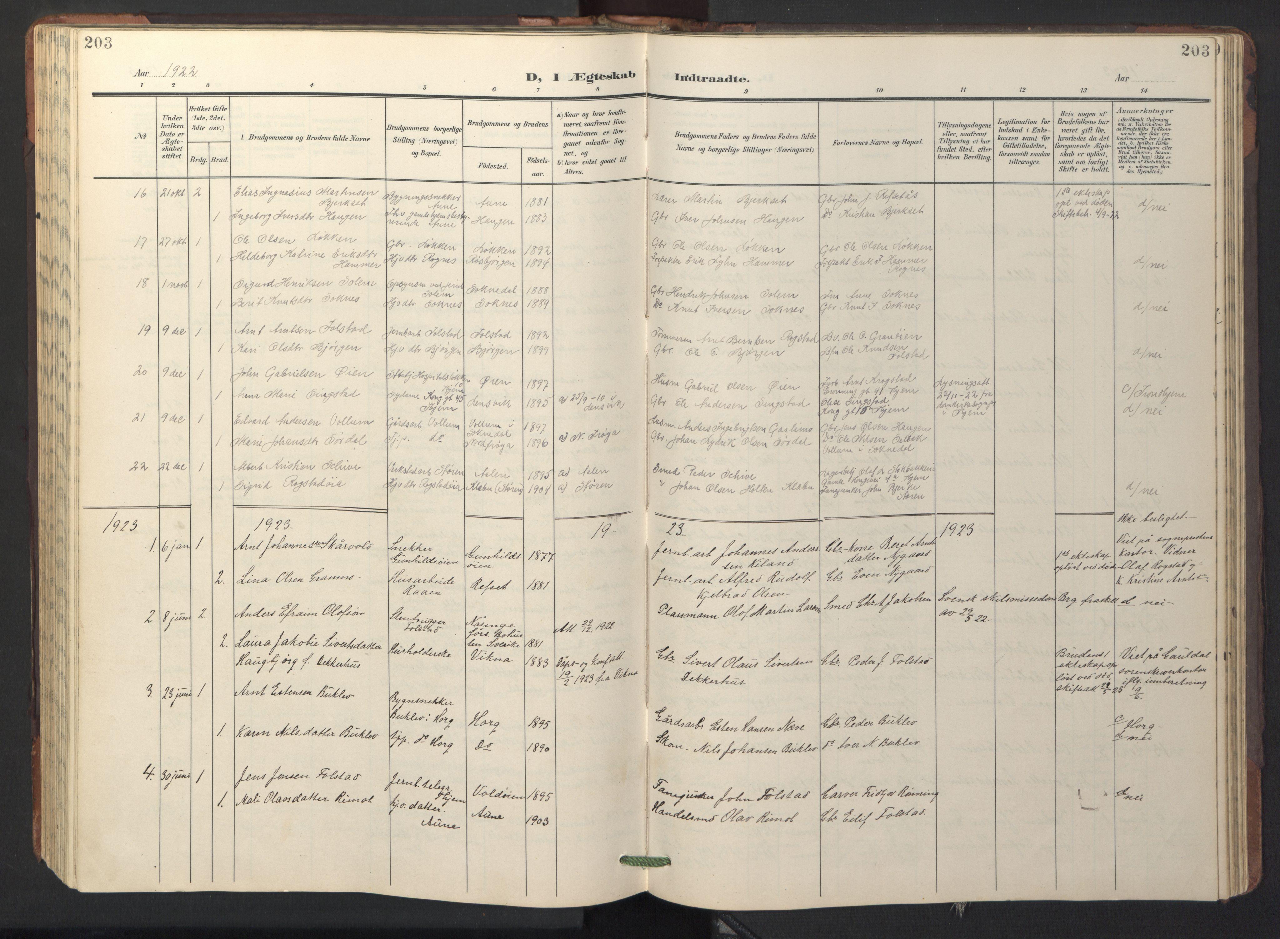 SAT, Ministerialprotokoller, klokkerbøker og fødselsregistre - Sør-Trøndelag, 687/L1019: Klokkerbok nr. 687C03, 1904-1931, s. 203