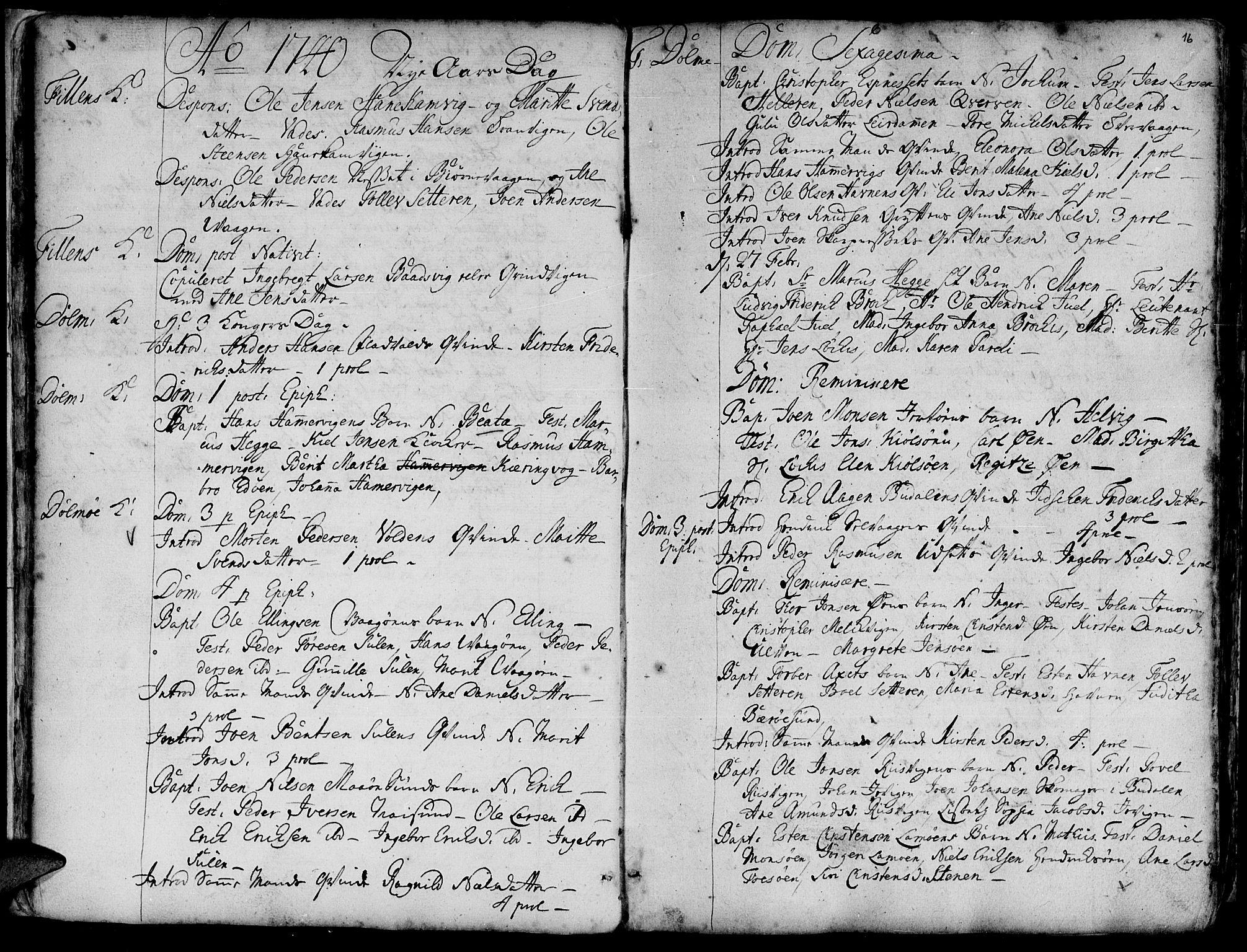 SAT, Ministerialprotokoller, klokkerbøker og fødselsregistre - Sør-Trøndelag, 634/L0525: Ministerialbok nr. 634A01, 1736-1775, s. 16