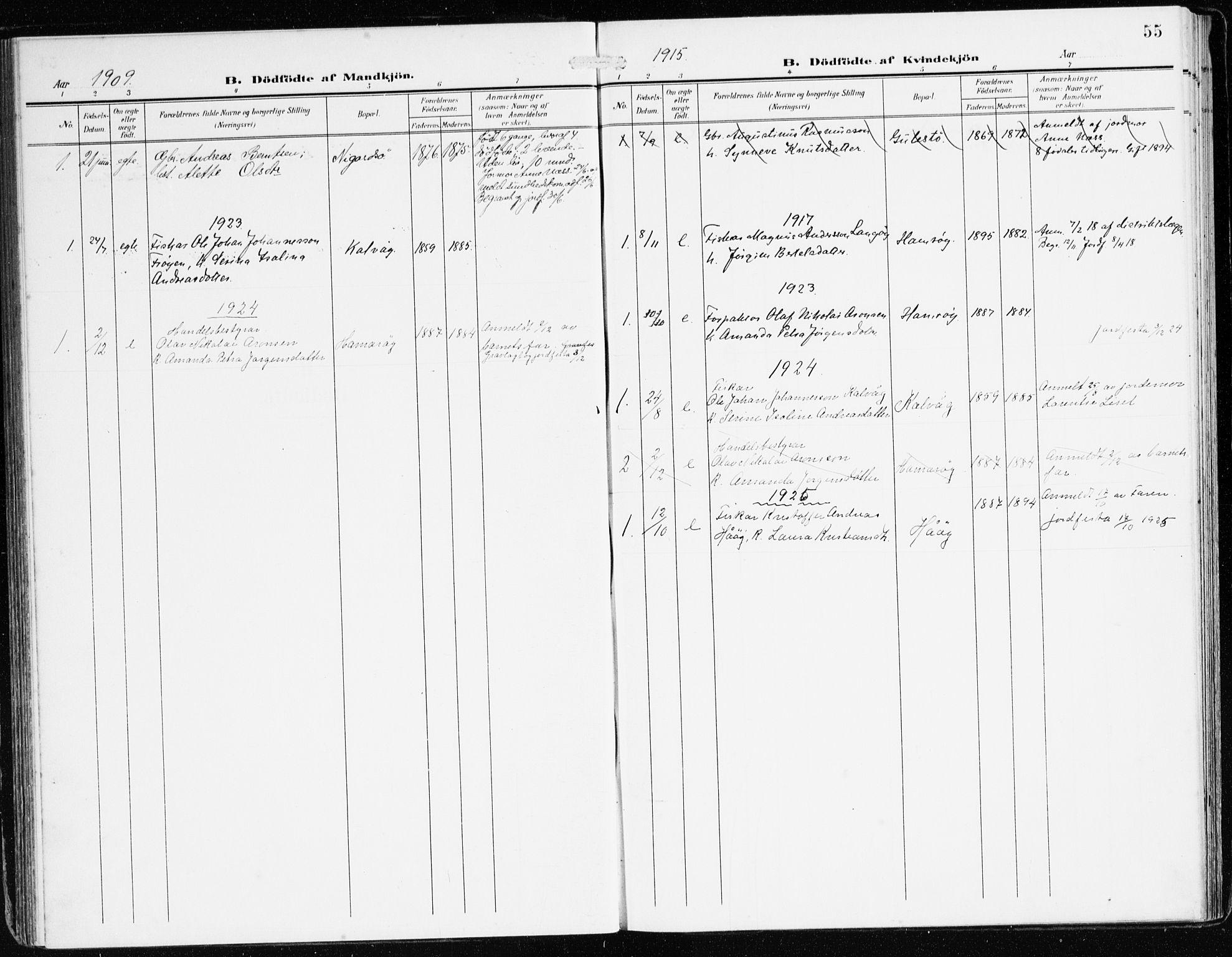 SAB, Bremanger Sokneprestembete, H/Haa: Ministerialbok nr. B 3, 1908-1925, s. 55