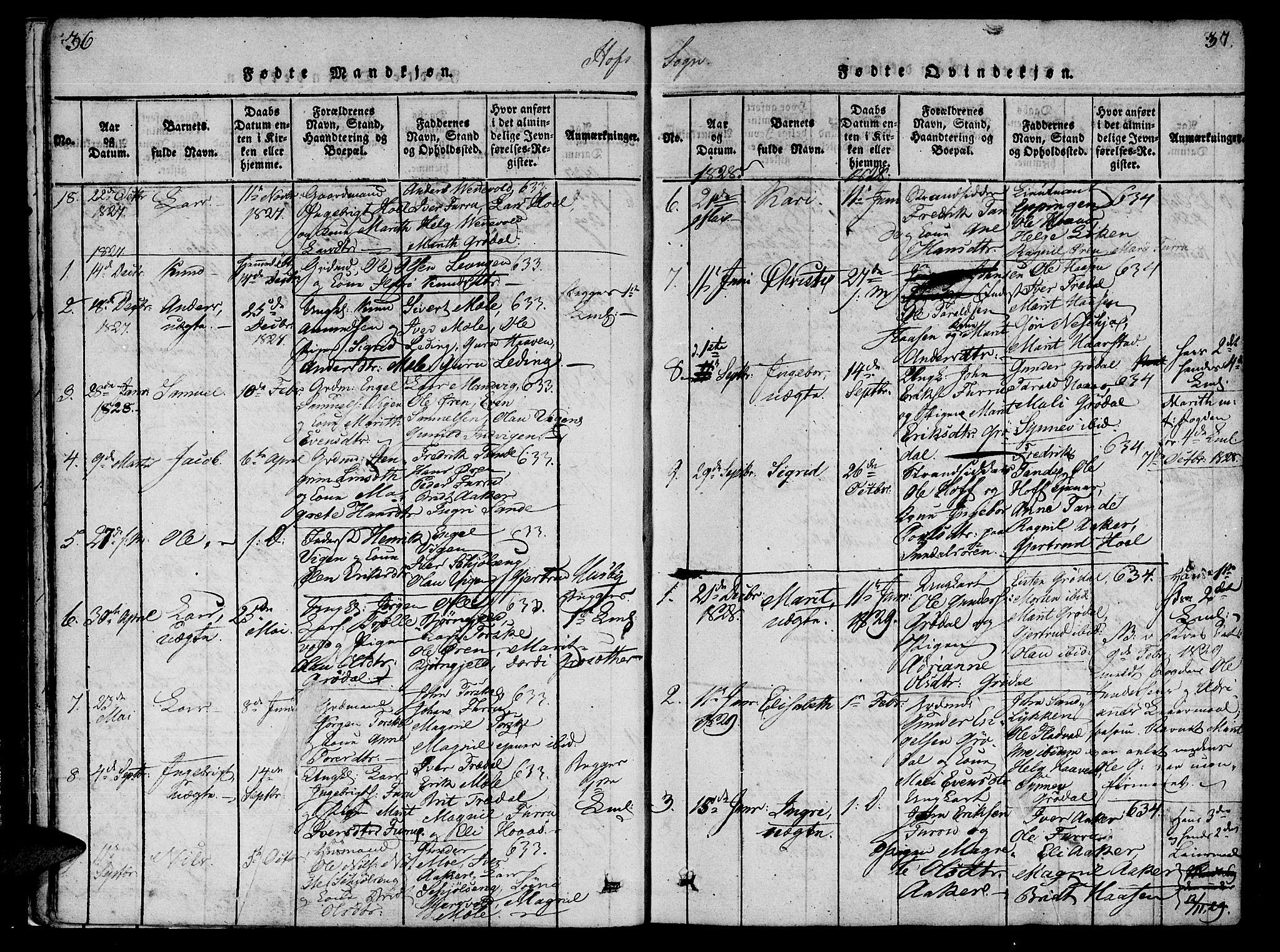 SAT, Ministerialprotokoller, klokkerbøker og fødselsregistre - Møre og Romsdal, 590/L1009: Ministerialbok nr. 590A03 /1, 1819-1832, s. 36-37