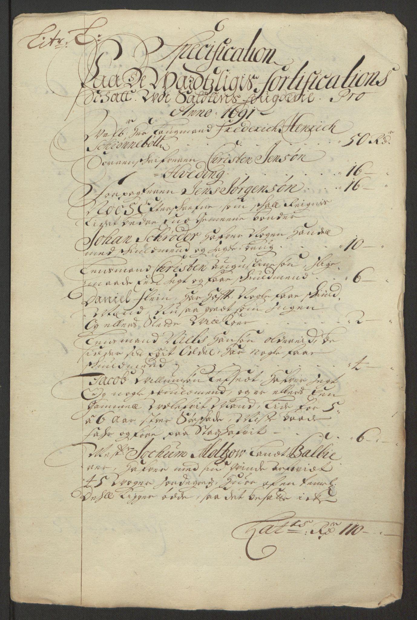 RA, Rentekammeret inntil 1814, Reviderte regnskaper, Fogderegnskap, R66/L4577: Fogderegnskap Salten, 1691-1693, s. 232