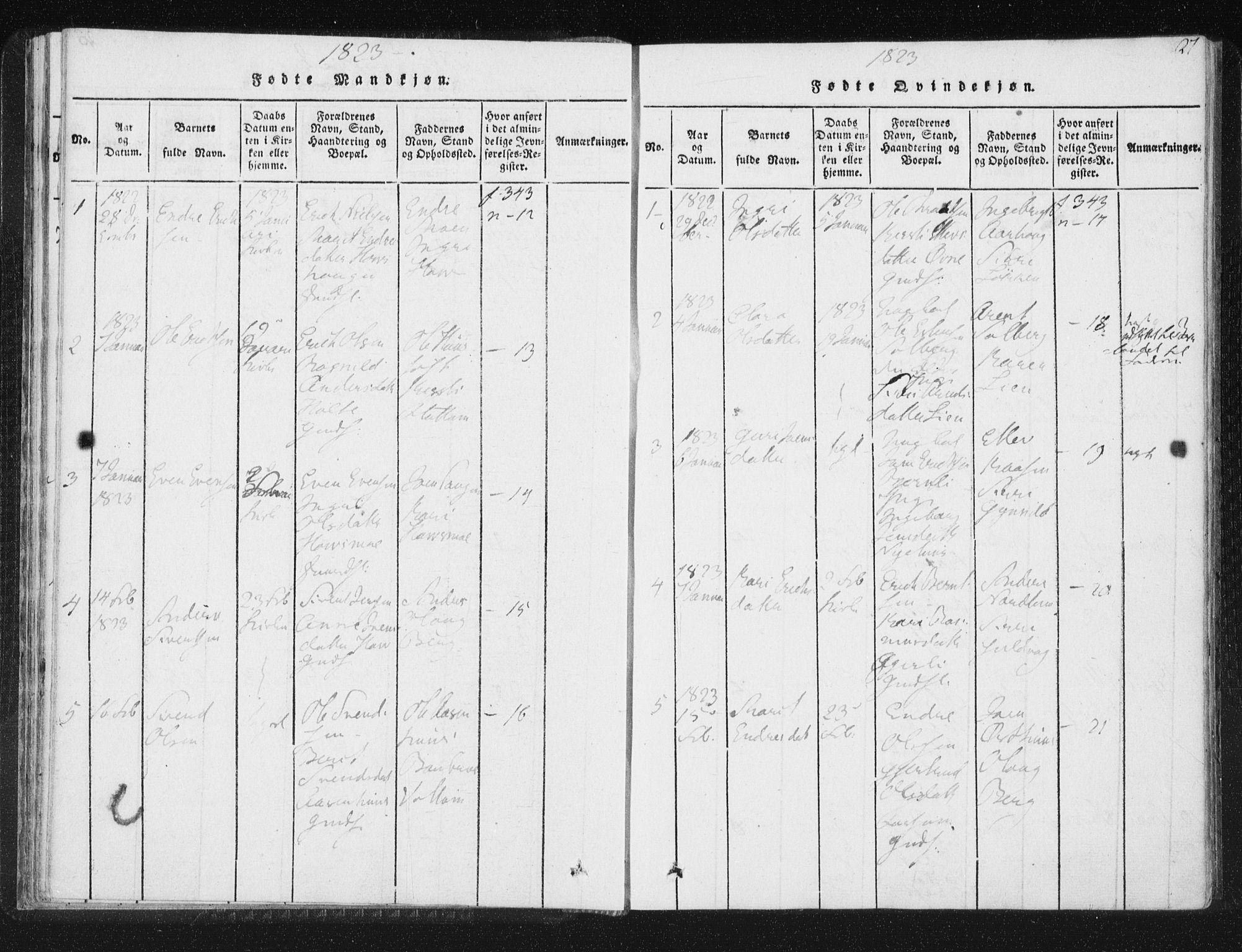 SAT, Ministerialprotokoller, klokkerbøker og fødselsregistre - Sør-Trøndelag, 689/L1037: Ministerialbok nr. 689A02, 1816-1842, s. 27