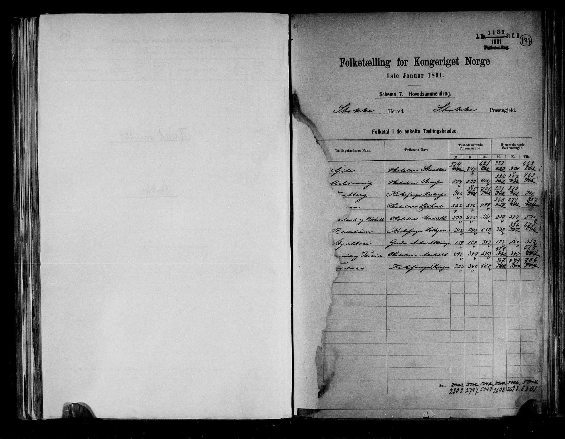 RA, Folketelling 1891 for 0720 Stokke herred, 1891, s. 2