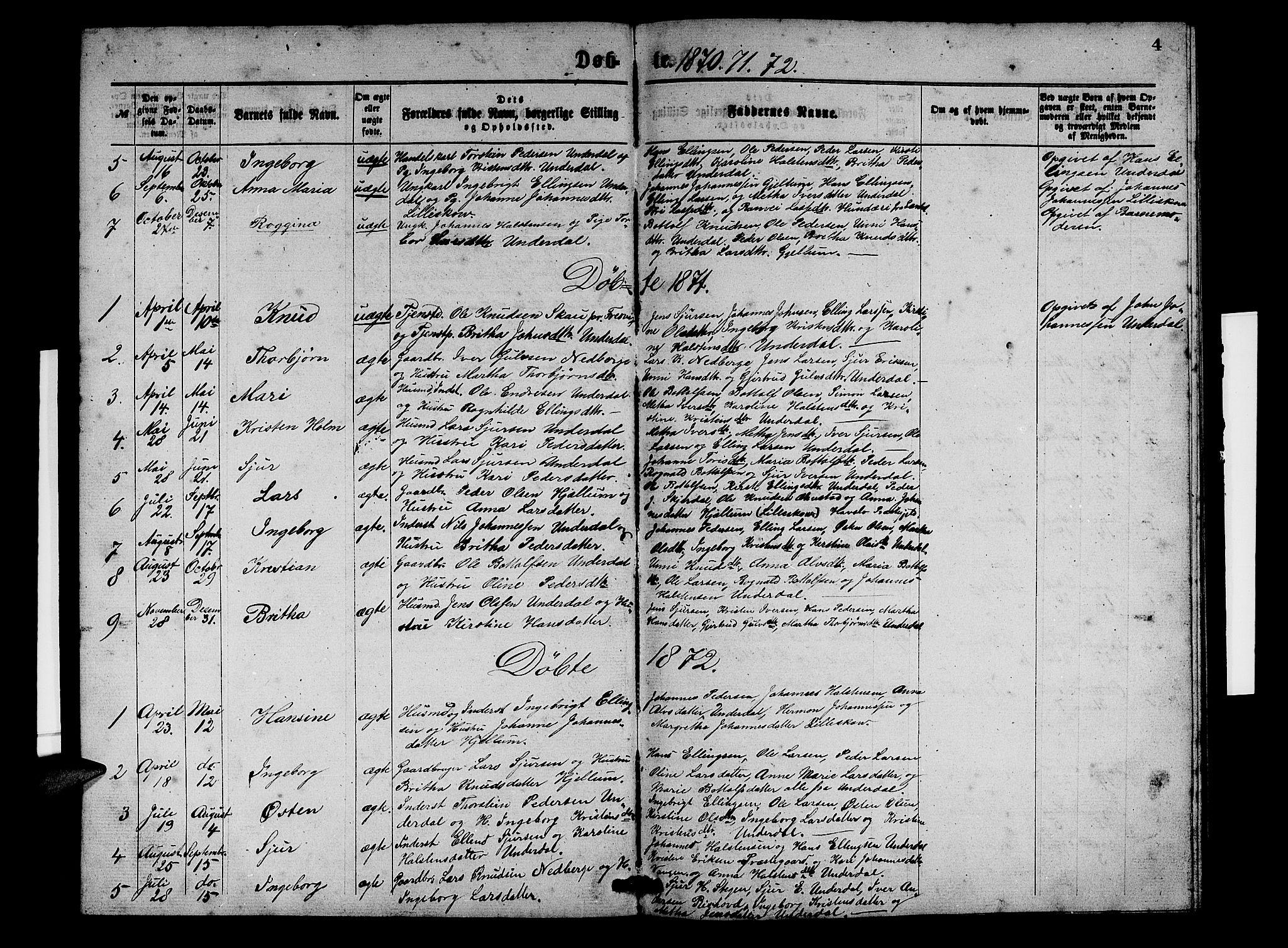 SAB, Aurland Sokneprestembete*, Klokkerbok nr. D 1, 1868-1882, s. 4