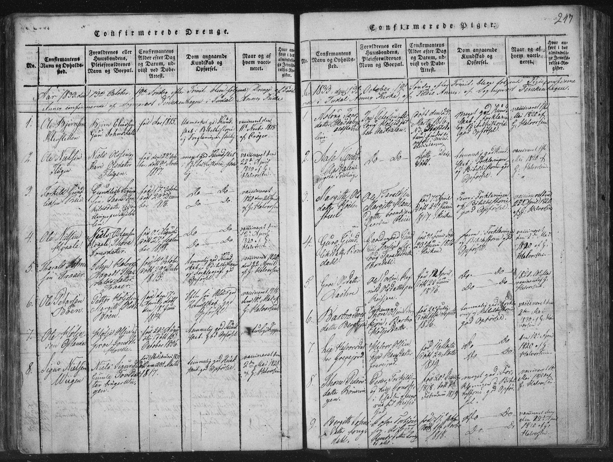 SAKO, Hjartdal kirkebøker, F/Fc/L0001: Ministerialbok nr. III 1, 1815-1843, s. 247