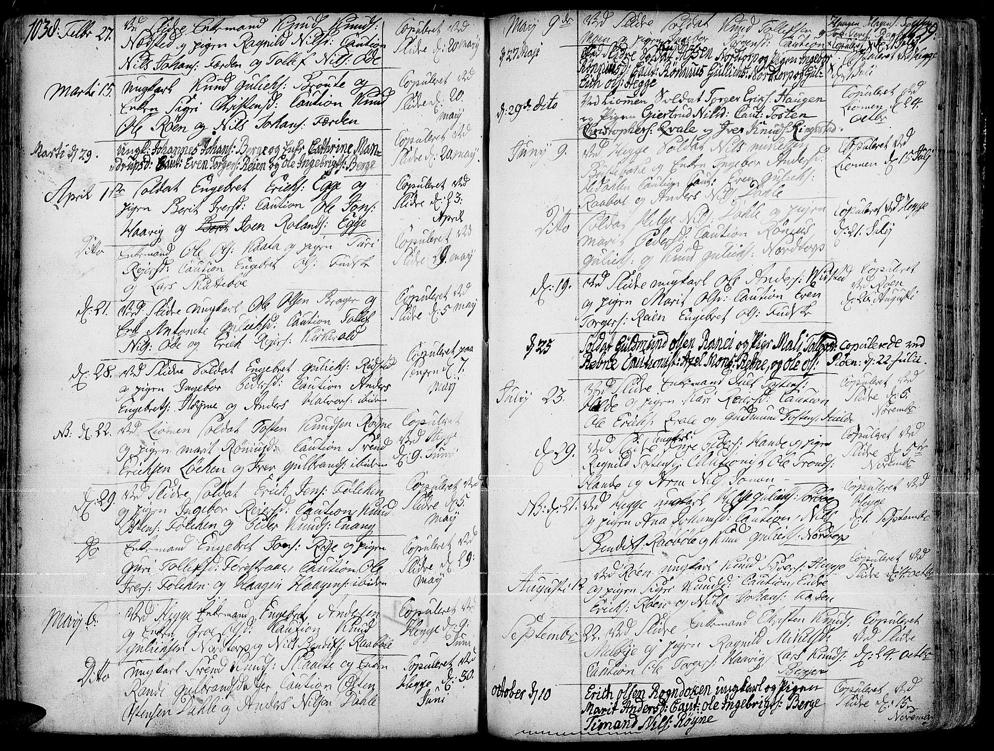 SAH, Slidre prestekontor, Ministerialbok nr. 1, 1724-1814, s. 1038-1039