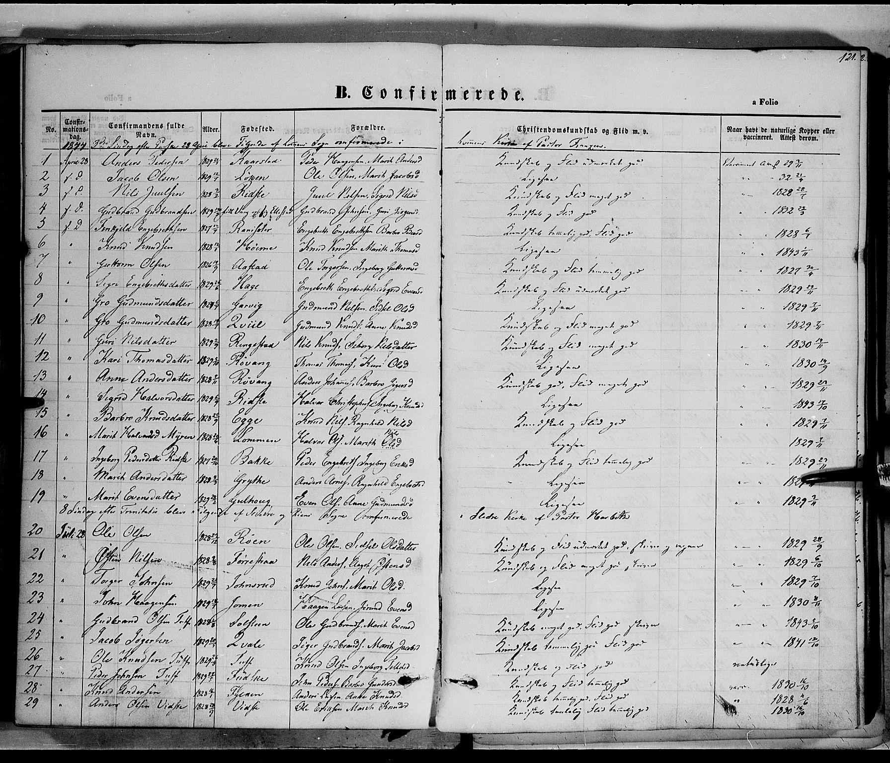SAH, Vestre Slidre prestekontor, Ministerialbok nr. 1, 1844-1855, s. 121