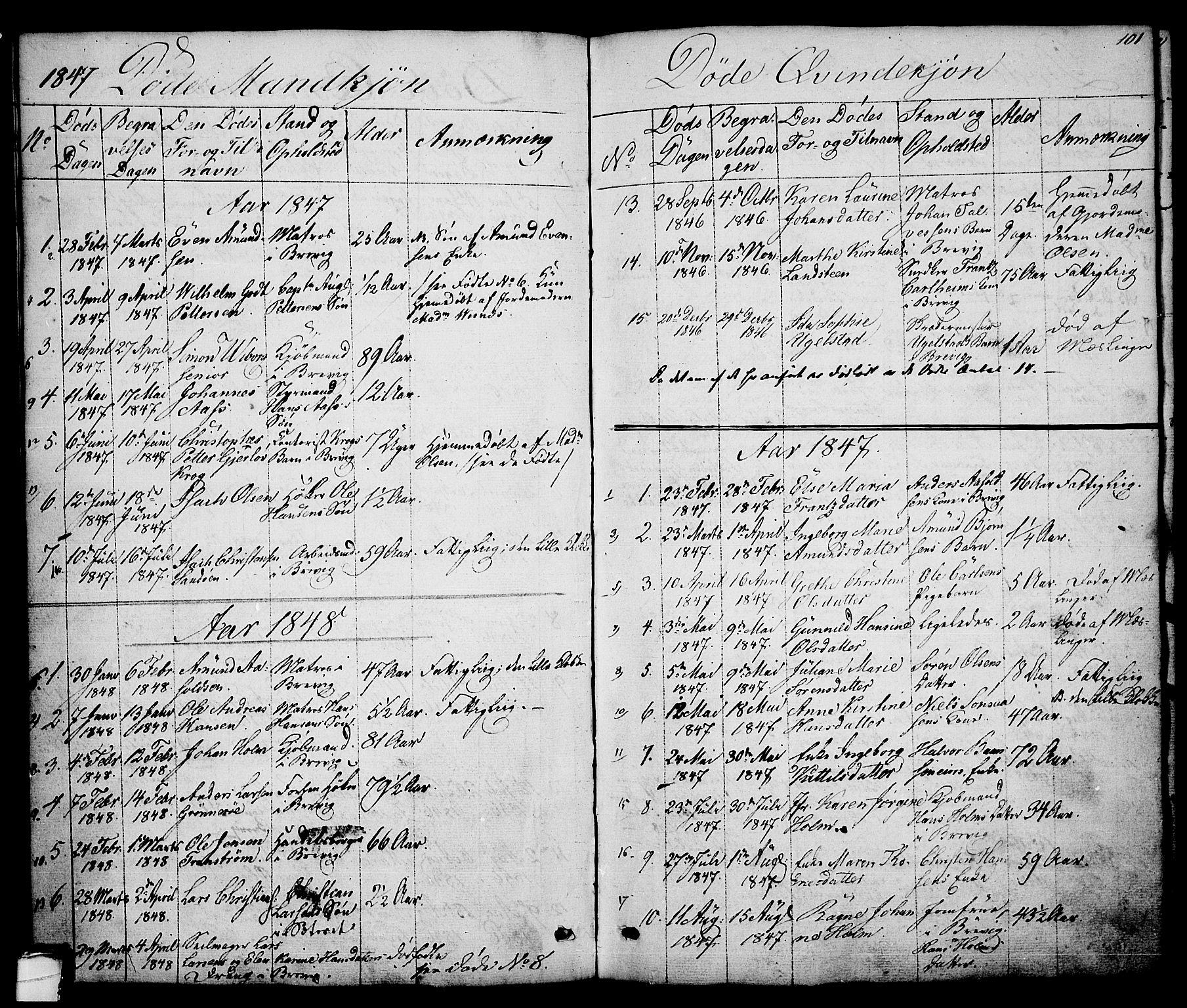 SAKO, Brevik kirkebøker, G/Ga/L0002: Klokkerbok nr. 2, 1846-1865, s. 101