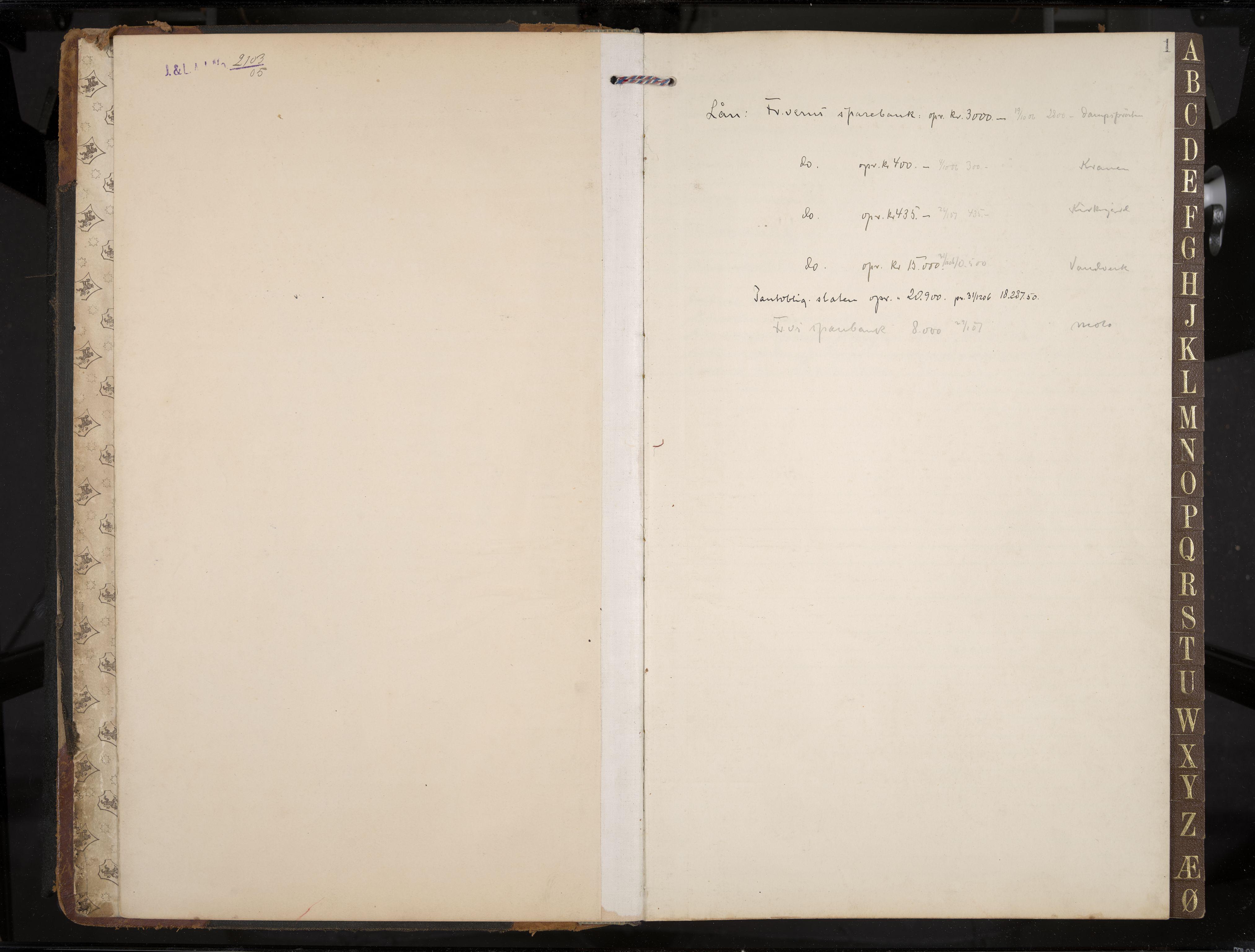 IKAK, Stavern formannskap, Aa/L0005: Møtebok med register, 1905-1917, s. 1