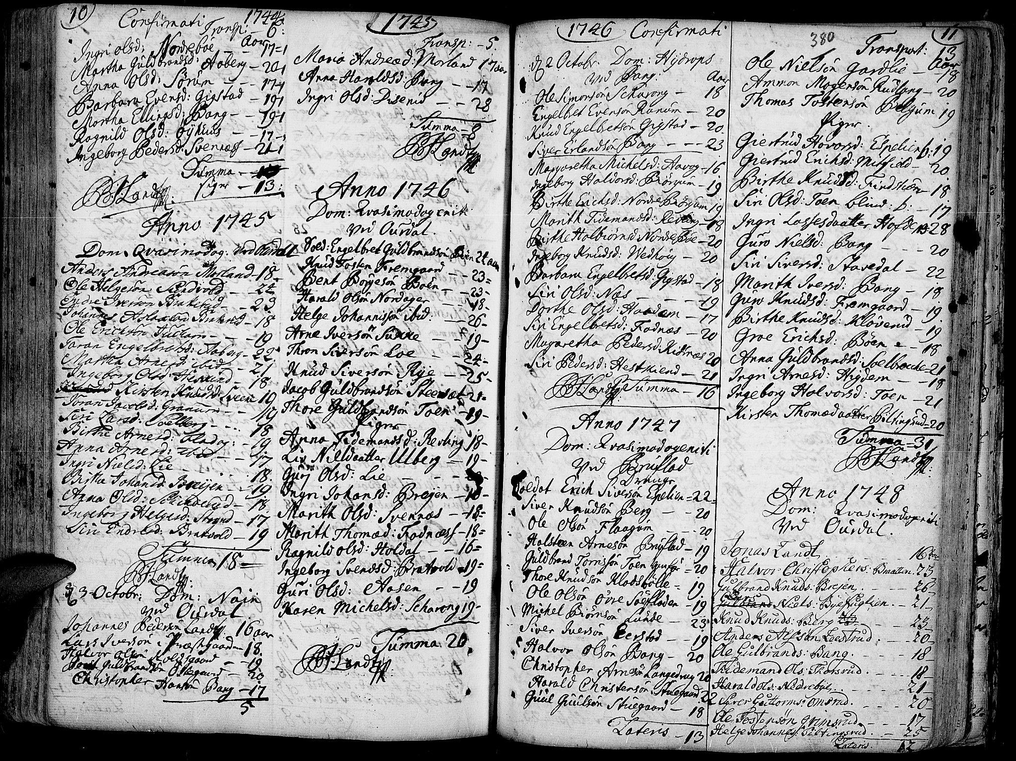 SAH, Aurdal prestekontor, Ministerialbok nr. 4, 1730-1762, s. 10-11