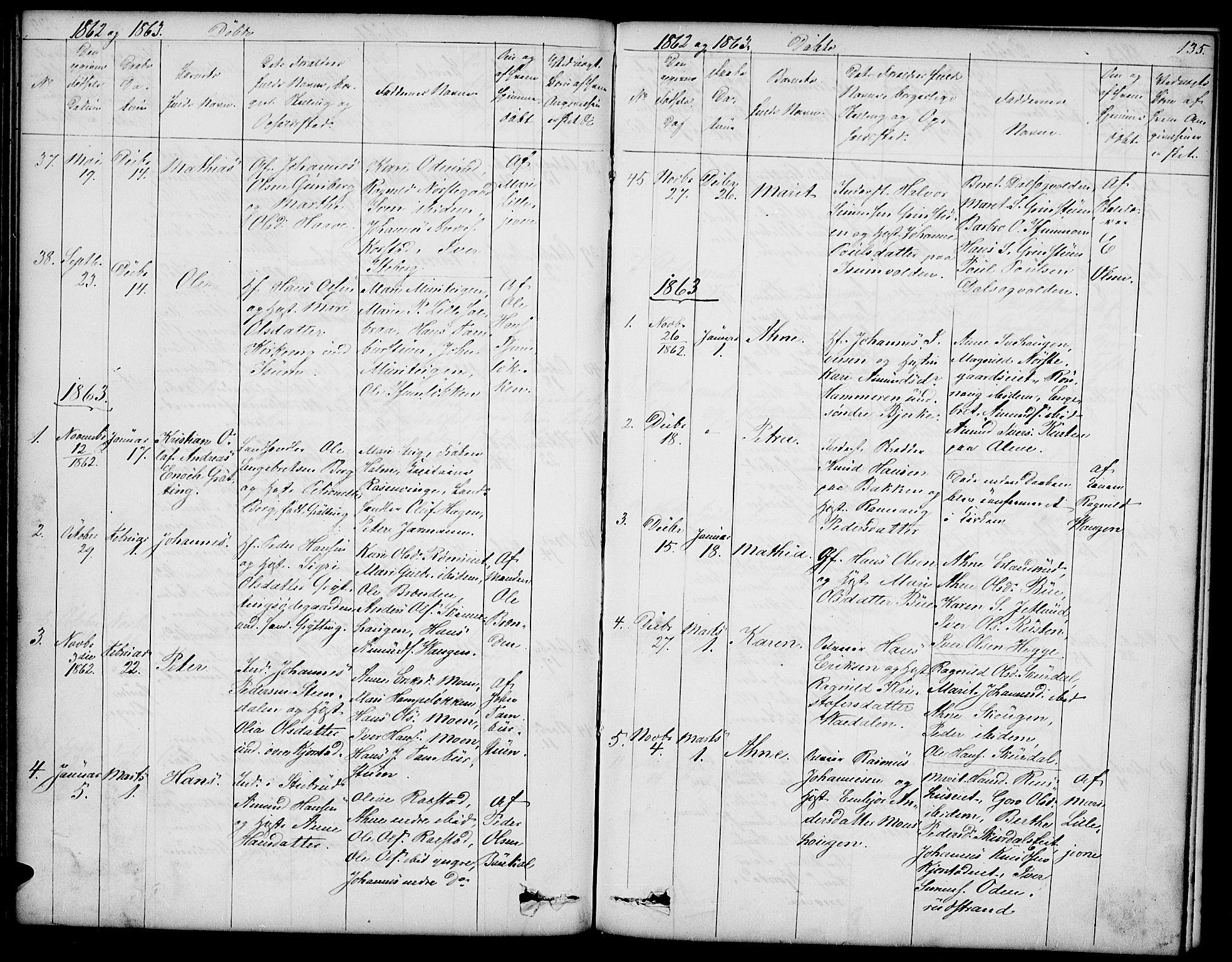 SAH, Sør-Fron prestekontor, H/Ha/Hab/L0001: Klokkerbok nr. 1, 1844-1863, s. 135