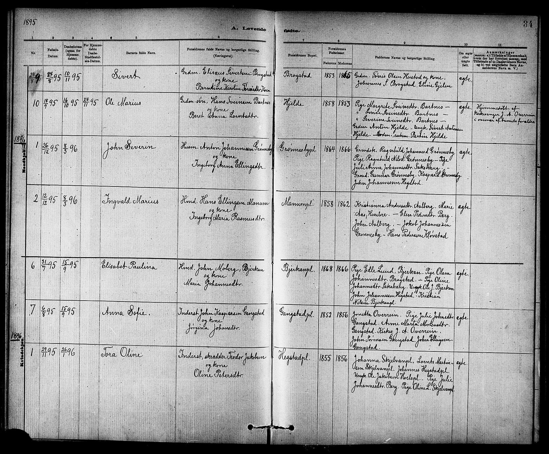 SAT, Ministerialprotokoller, klokkerbøker og fødselsregistre - Nord-Trøndelag, 732/L0318: Klokkerbok nr. 732C02, 1881-1911, s. 34