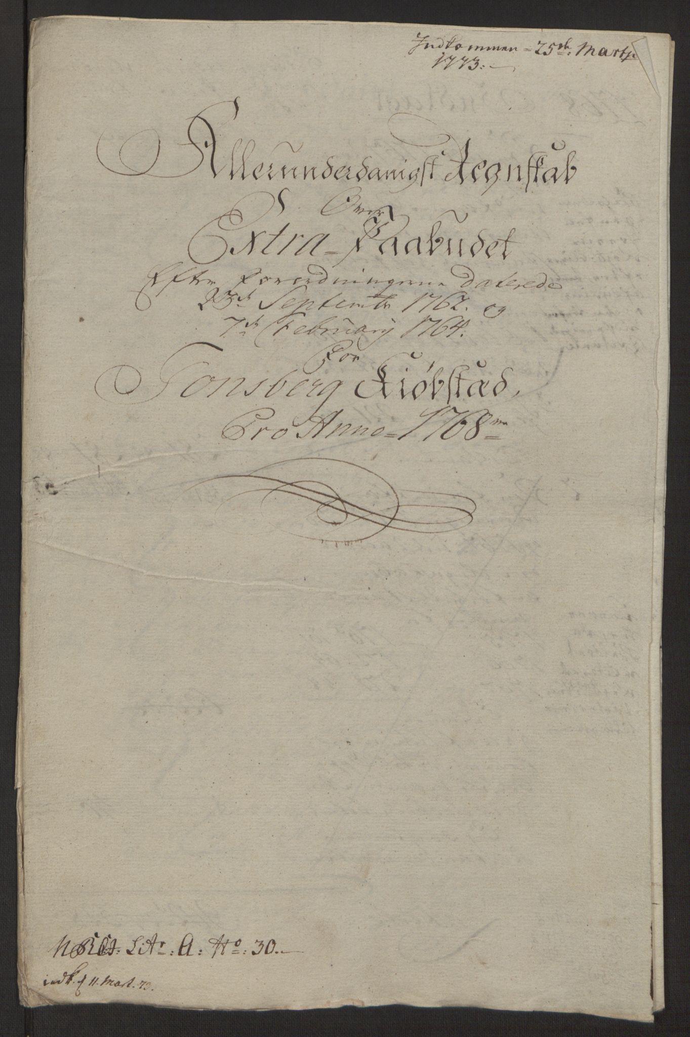 RA, Rentekammeret inntil 1814, Reviderte regnskaper, Byregnskaper, R/Rh/L0162: [H4] Kontribusjonsregnskap, 1762-1772, s. 335