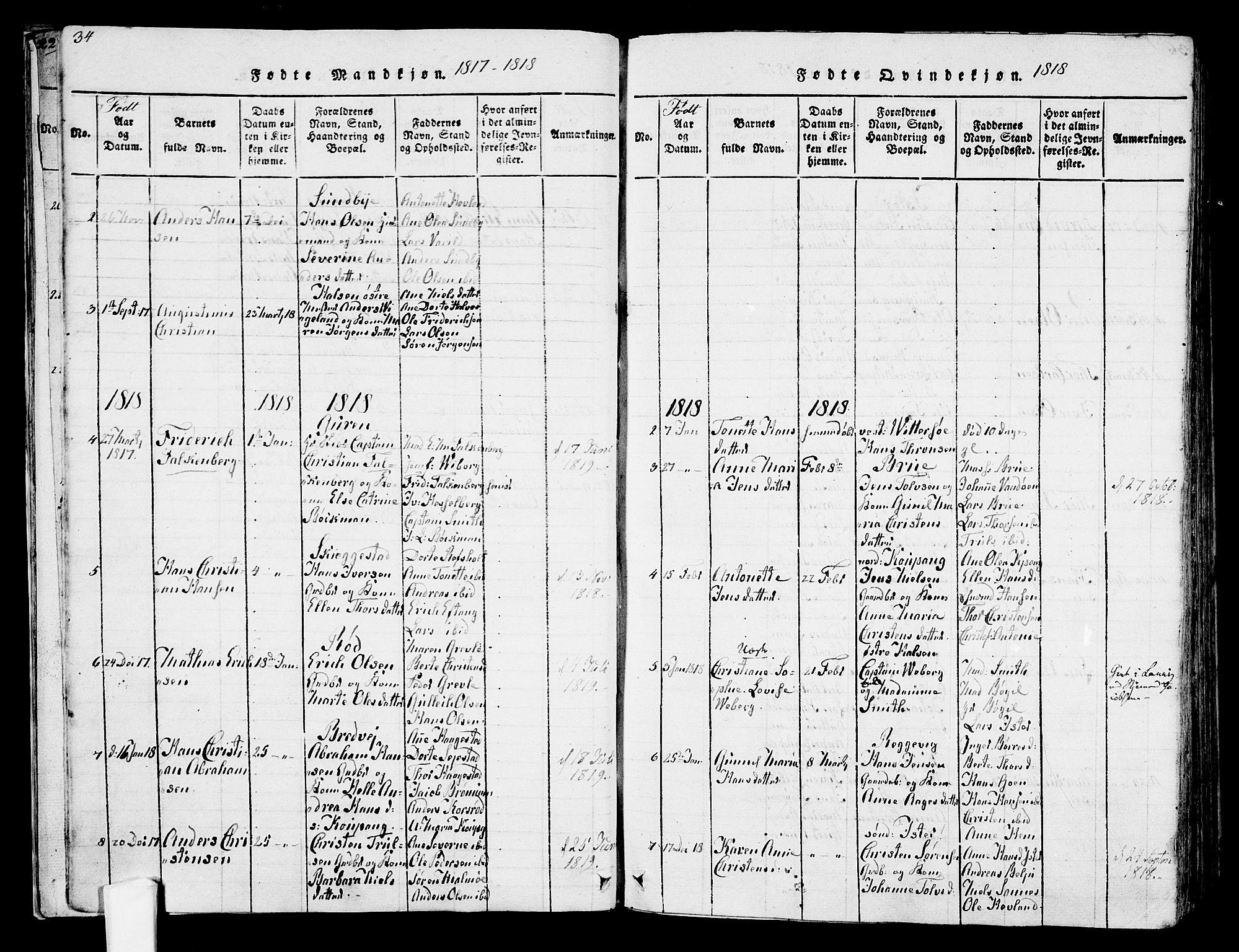SAKO, Tjølling kirkebøker, F/Fa/L0005: Ministerialbok nr. 5, 1814-1836, s. 34-35