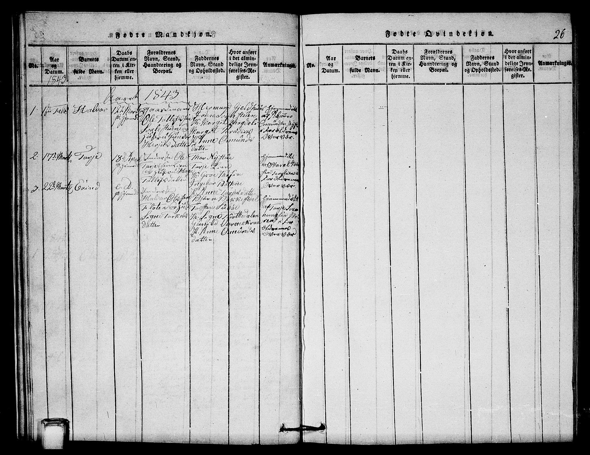 SAKO, Vinje kirkebøker, G/Gb/L0001: Klokkerbok nr. II 1, 1814-1843, s. 26