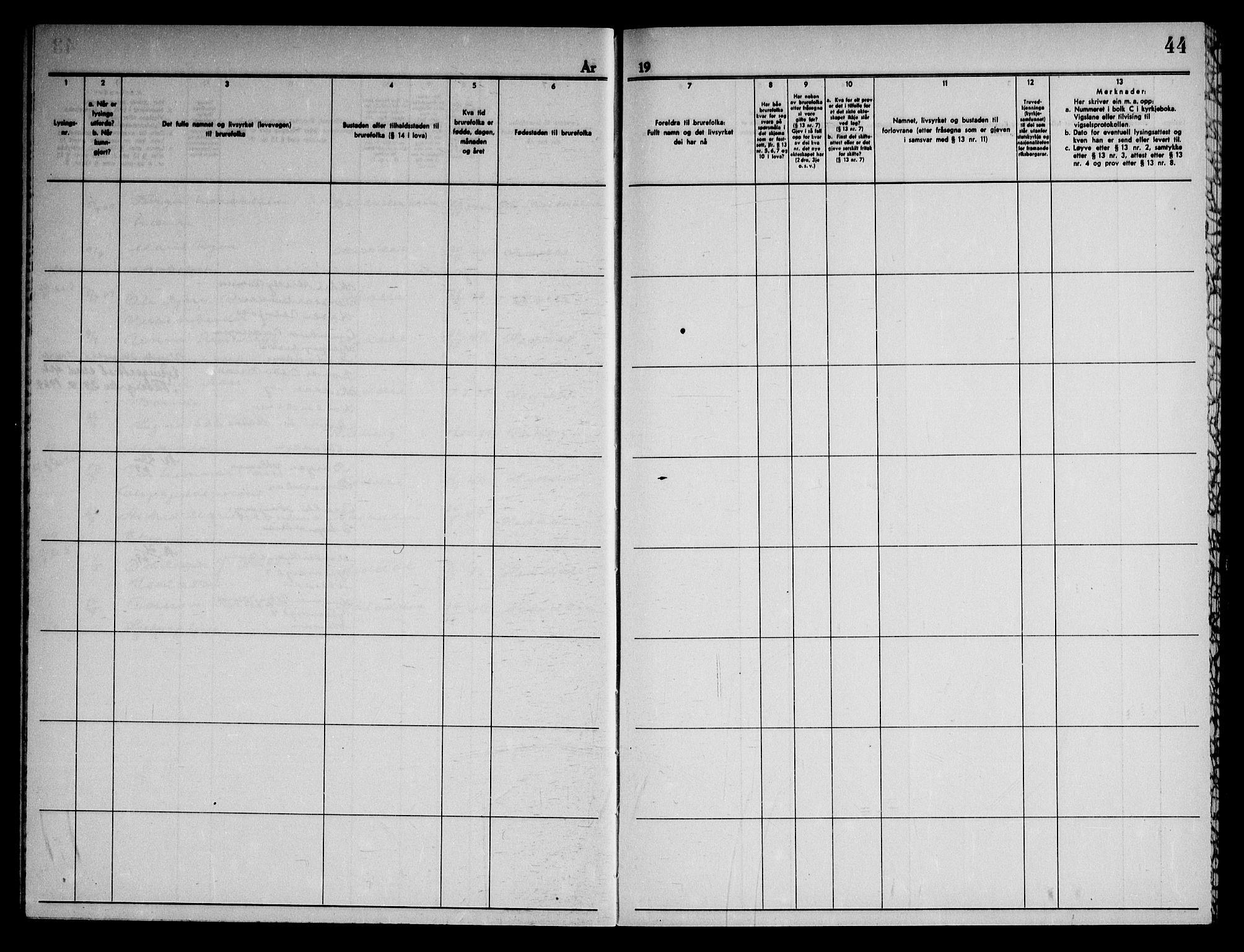 SAKO, Heddal kirkebøker, H/Ha/L0003: Lysningsprotokoll nr. 3, 1959-1969, s. 44