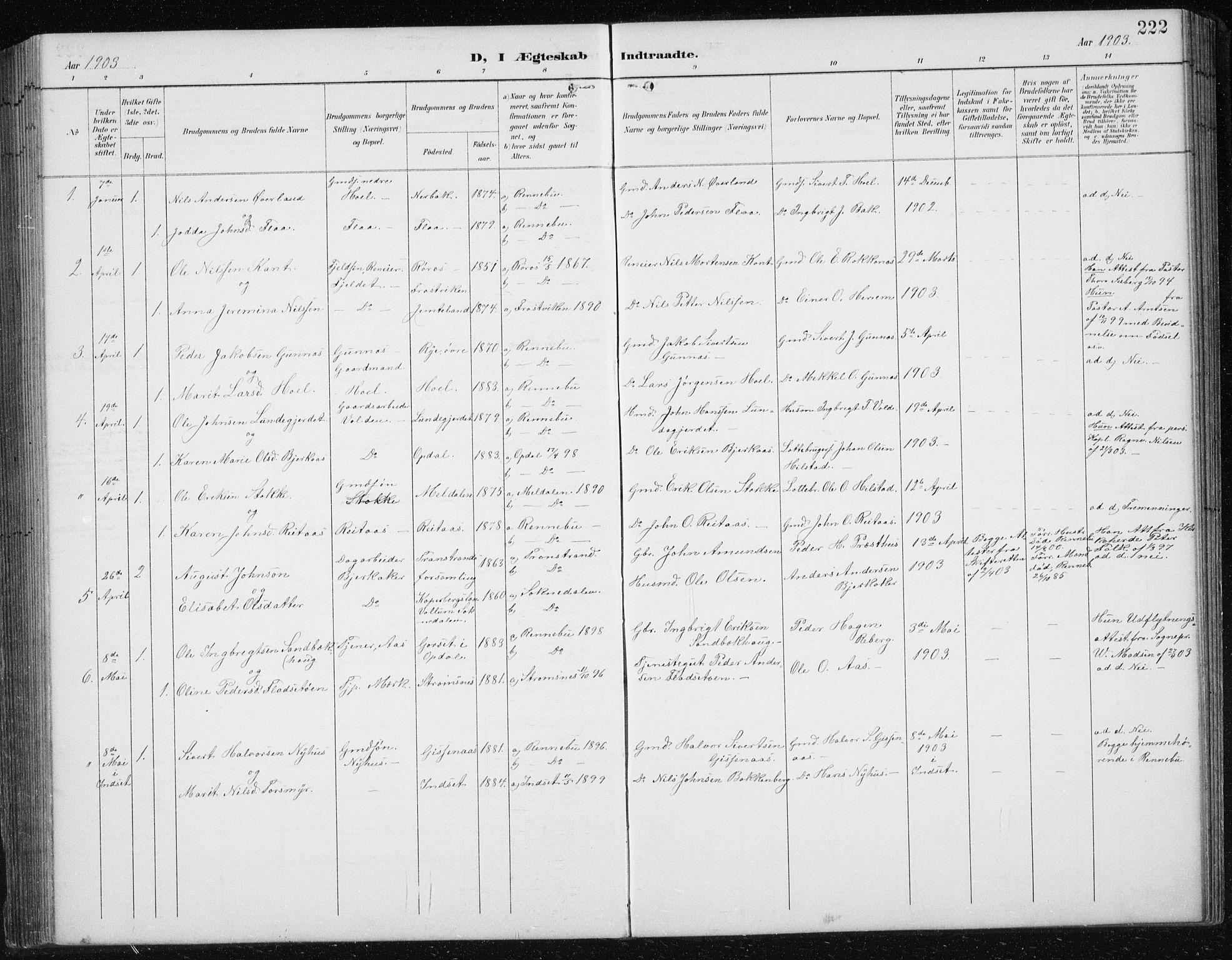 SAT, Ministerialprotokoller, klokkerbøker og fødselsregistre - Sør-Trøndelag, 674/L0876: Klokkerbok nr. 674C03, 1892-1912, s. 222