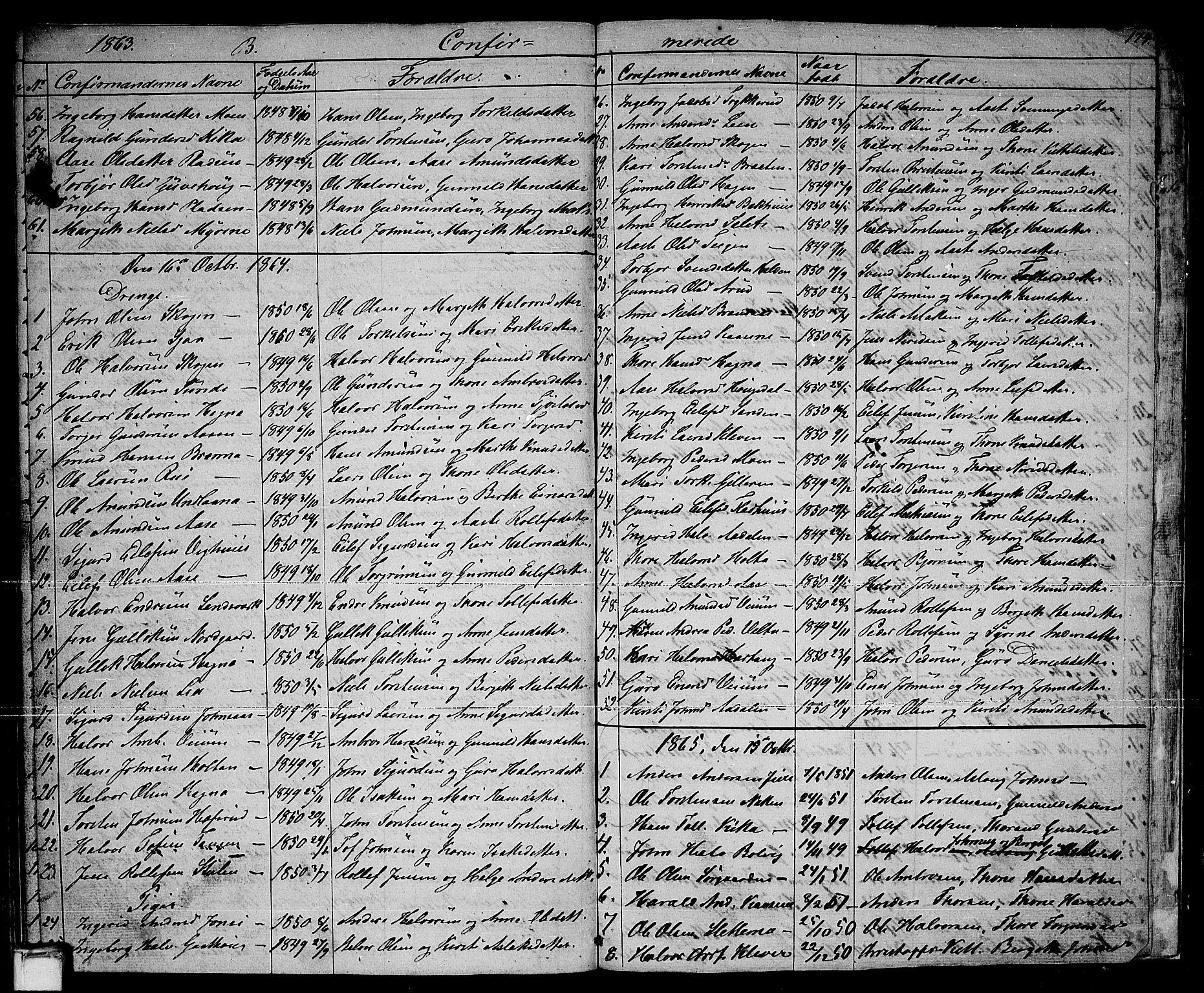 SAKO, Sauherad kirkebøker, G/Ga/L0002: Klokkerbok nr. I 2, 1842-1866, s. 174