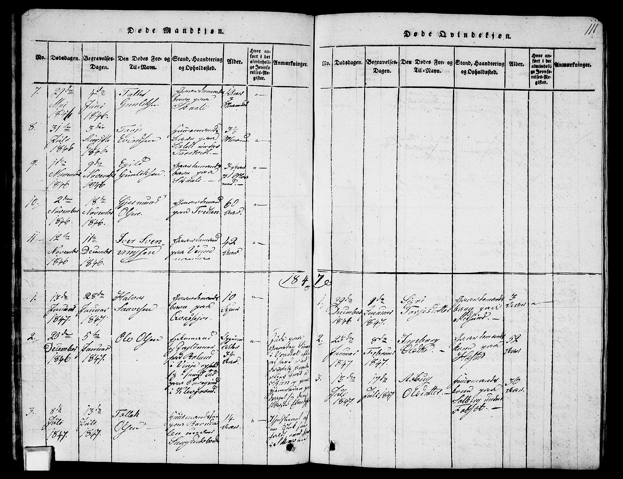 SAKO, Fyresdal kirkebøker, G/Ga/L0003: Klokkerbok nr. I 3, 1815-1863, s. 111