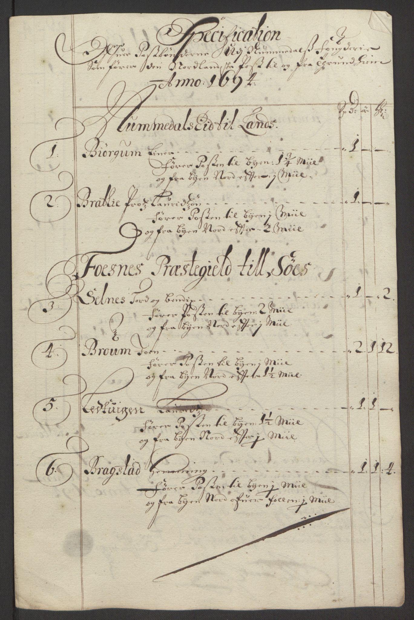 RA, Rentekammeret inntil 1814, Reviderte regnskaper, Fogderegnskap, R64/L4424: Fogderegnskap Namdal, 1692-1695, s. 419