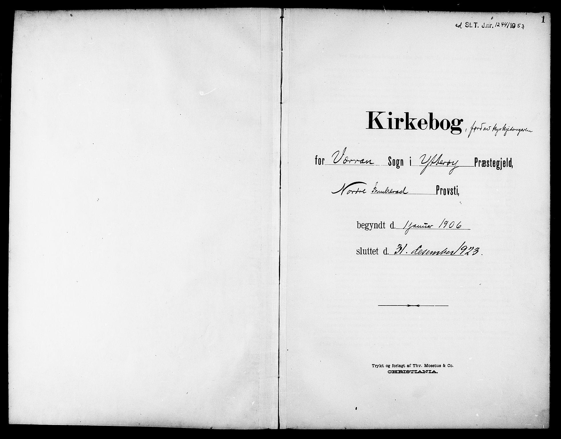 SAT, Ministerialprotokoller, klokkerbøker og fødselsregistre - Nord-Trøndelag, 744/L0424: Klokkerbok nr. 744C03, 1906-1923, s. 1