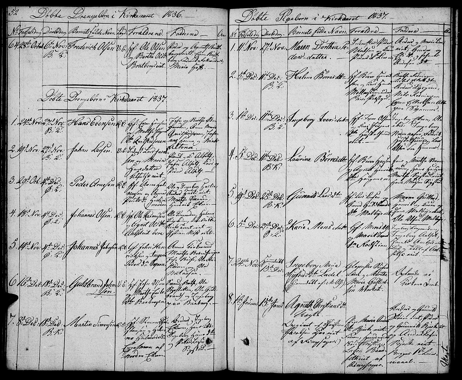 SAH, Biri prestekontor, Klokkerbok nr. 2, 1828-1842, s. 52