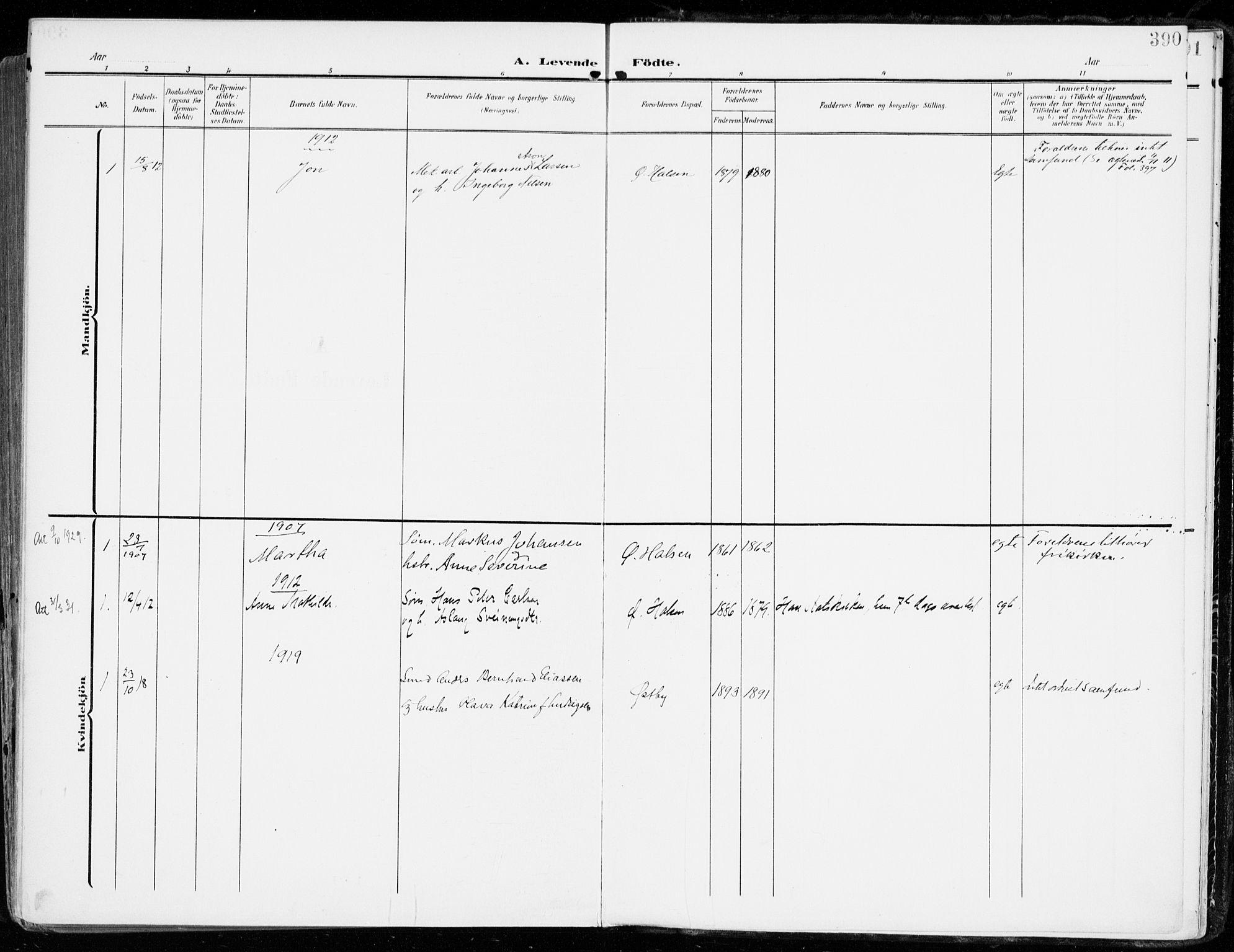 SAKO, Tjølling kirkebøker, F/Fa/L0010: Ministerialbok nr. 10, 1906-1923, s. 390