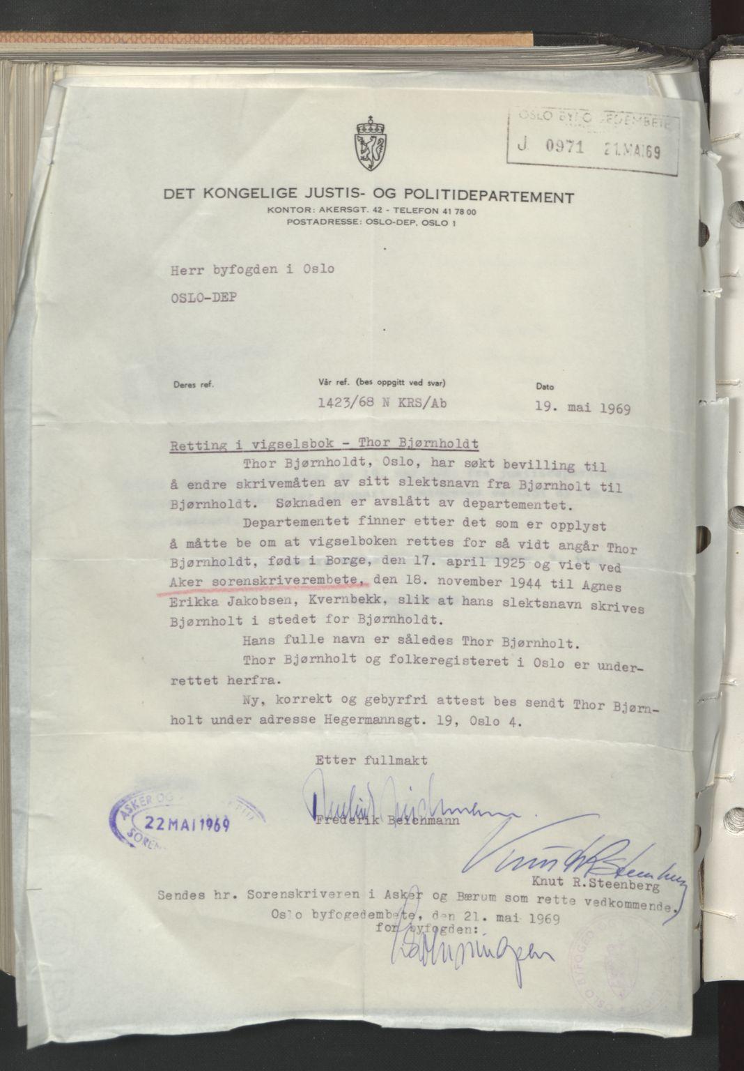 SAO, Aker sorenskriveri, L/Lc/Lcb/L0022: Vigselprotokoll, 1944, s. upaginert