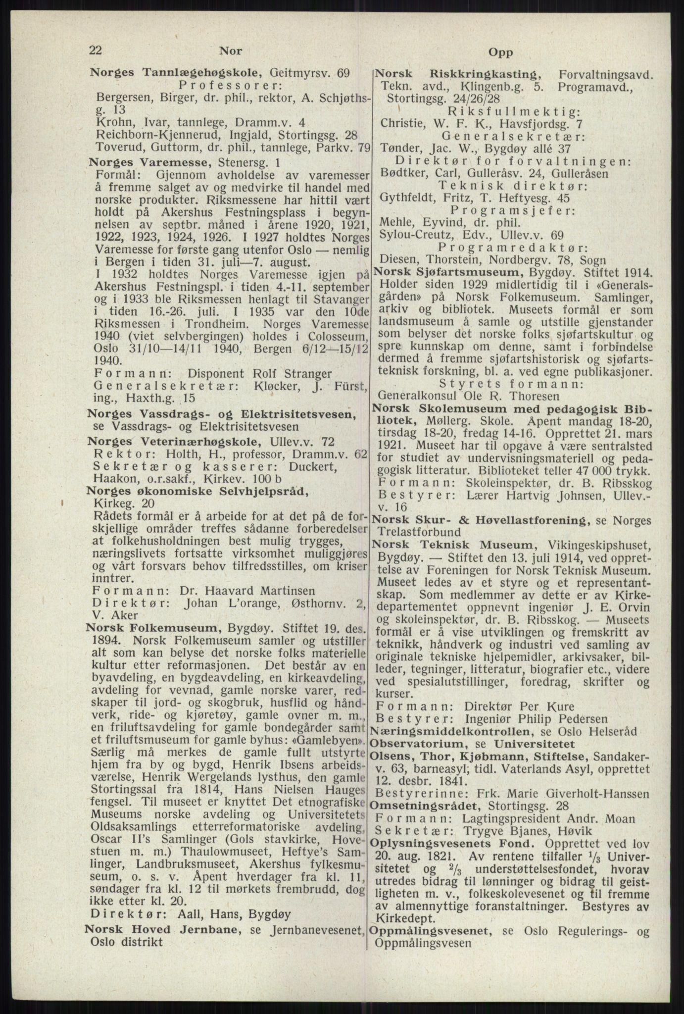 RA, Oslo adressebok (publikasjon)*, 1941, s. 22