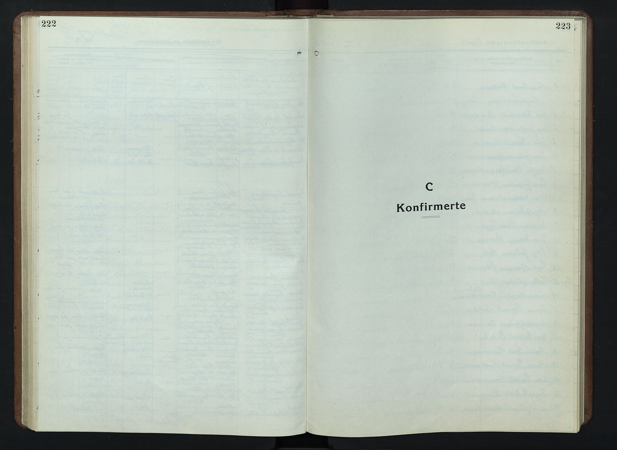 SAH, Nord-Fron prestekontor, Klokkerbok nr. 7, 1915-1946, s. 222-223