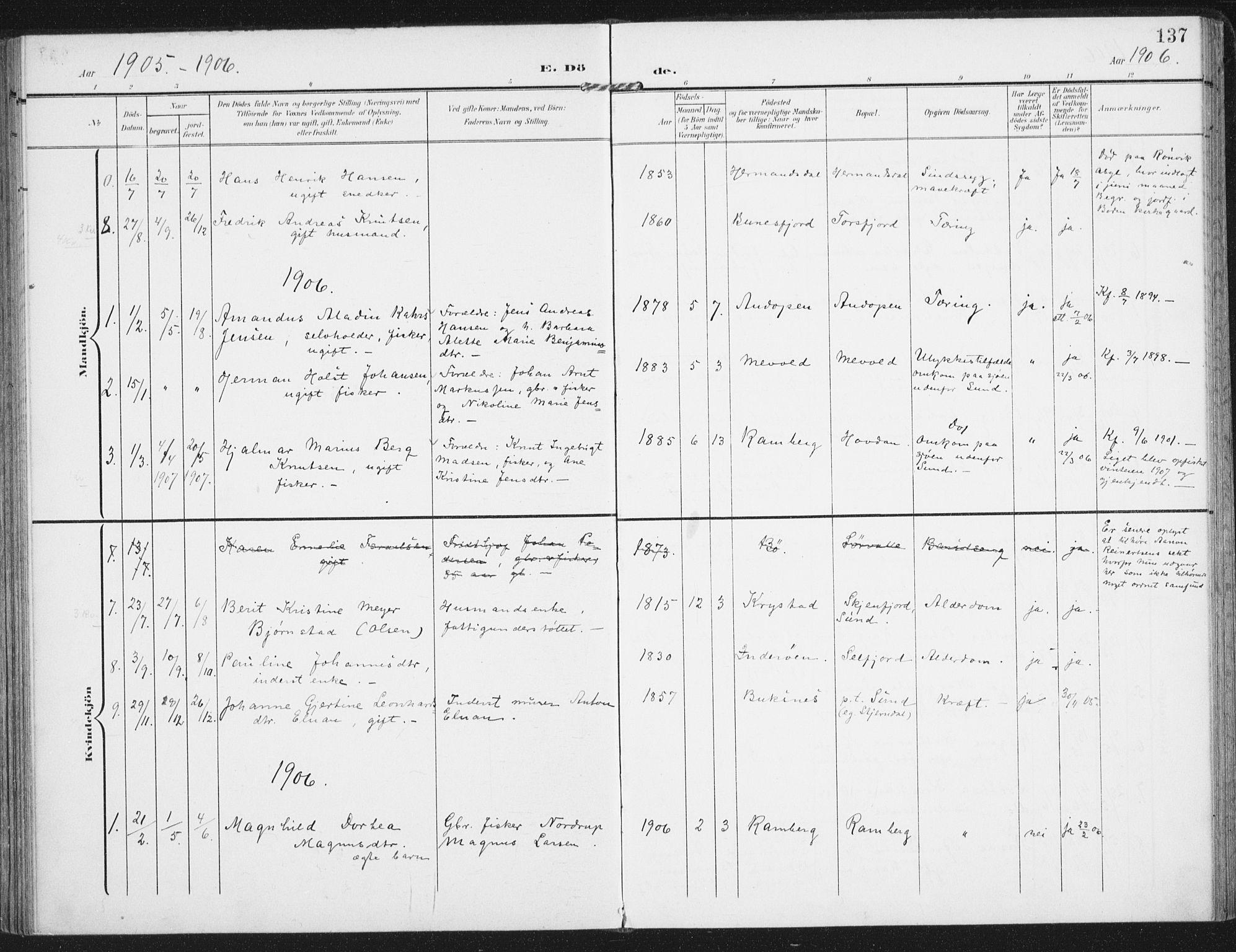SAT, Ministerialprotokoller, klokkerbøker og fødselsregistre - Nordland, 885/L1206: Ministerialbok nr. 885A07, 1905-1915, s. 137