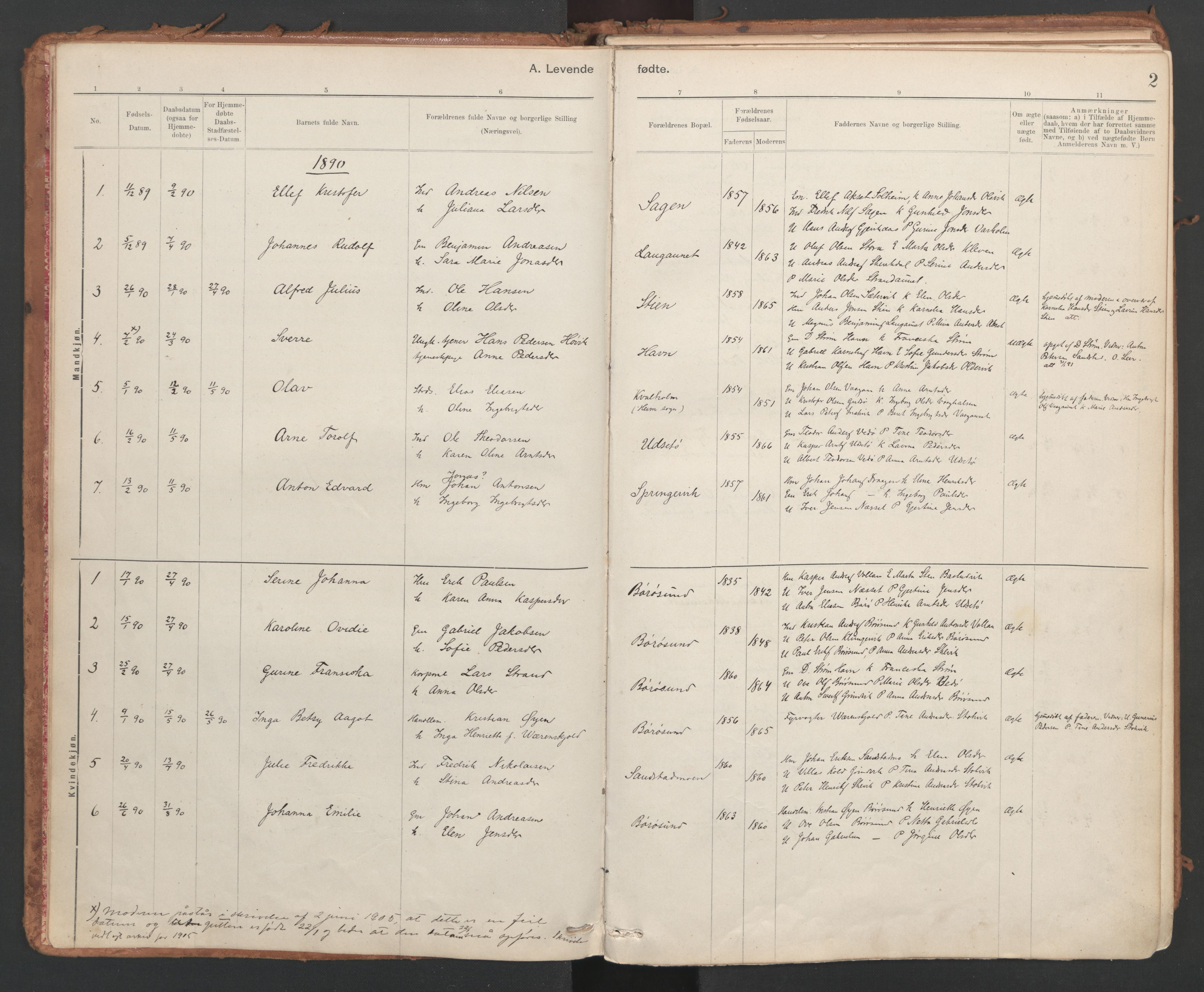SAT, Ministerialprotokoller, klokkerbøker og fødselsregistre - Sør-Trøndelag, 639/L0572: Ministerialbok nr. 639A01, 1890-1920, s. 2