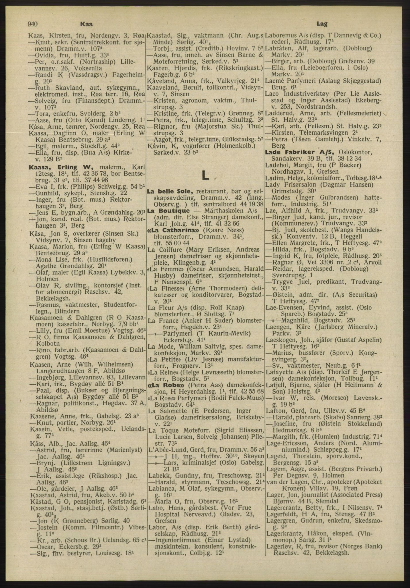 PUBL, Kristiania/Oslo adressebok, 1955, s. 940