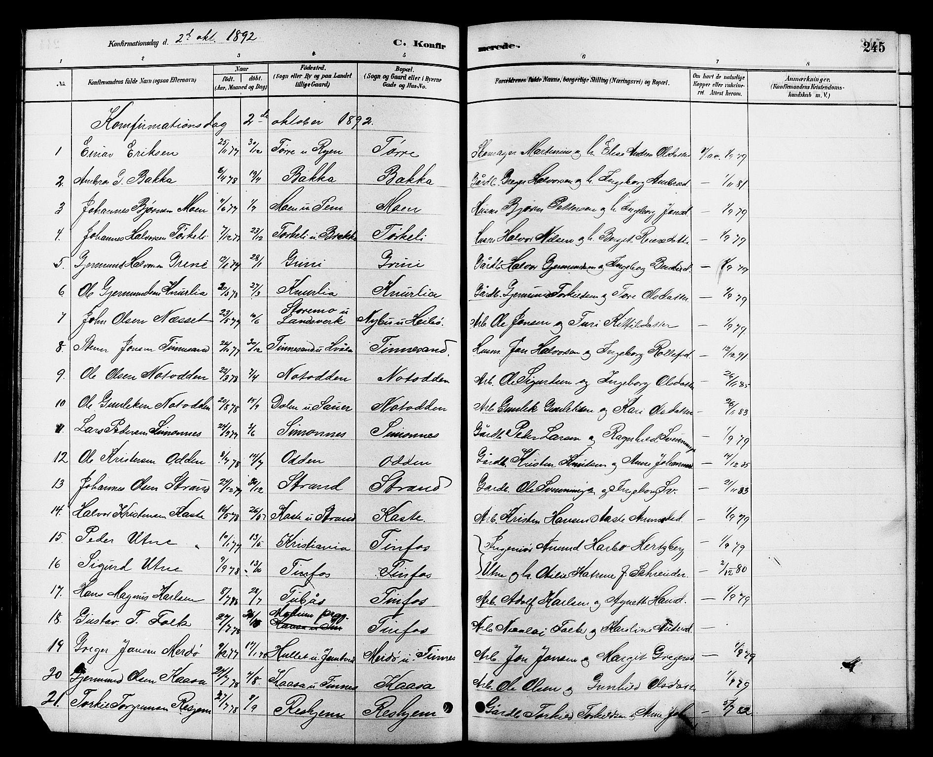 SAKO, Heddal kirkebøker, G/Ga/L0002: Klokkerbok nr. I 2, 1879-1908, s. 245
