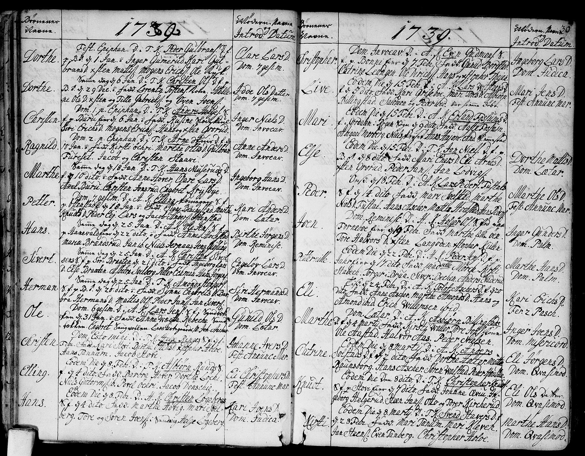 SAO, Asker prestekontor Kirkebøker, F/Fa/L0002: Ministerialbok nr. I 2, 1733-1766, s. 30