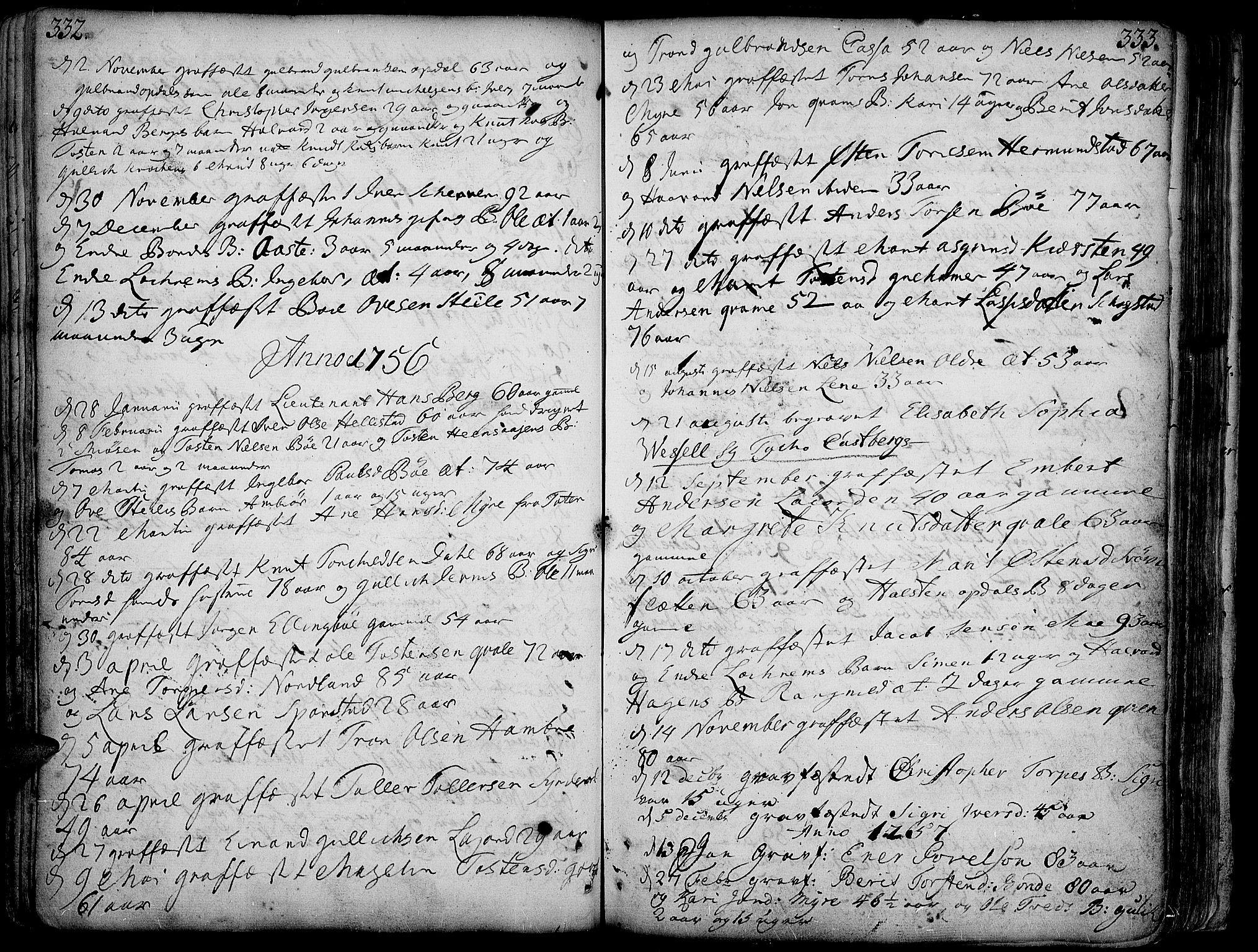 SAH, Vang prestekontor, Valdres, Ministerialbok nr. 1, 1730-1796, s. 332-333