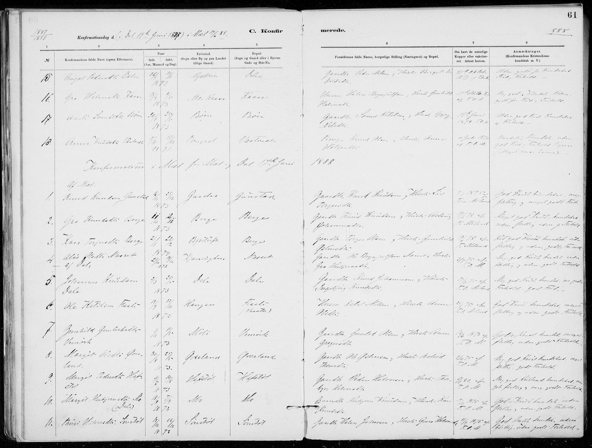 SAKO, Tinn kirkebøker, F/Fb/L0002: Ministerialbok nr. II 2, 1878-1917, s. 61