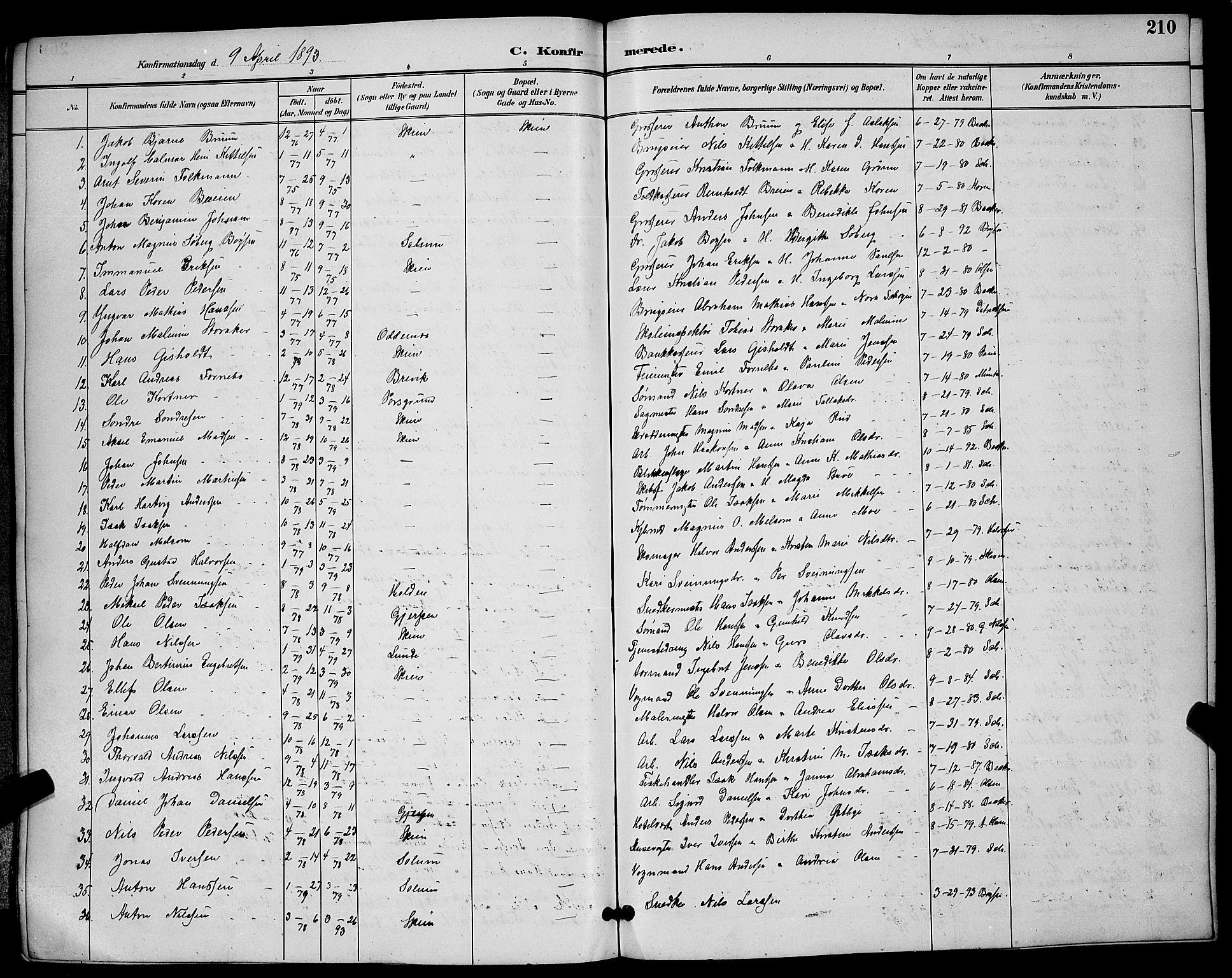 SAKO, Skien kirkebøker, G/Ga/L0007: Klokkerbok nr. 7, 1891-1900, s. 210