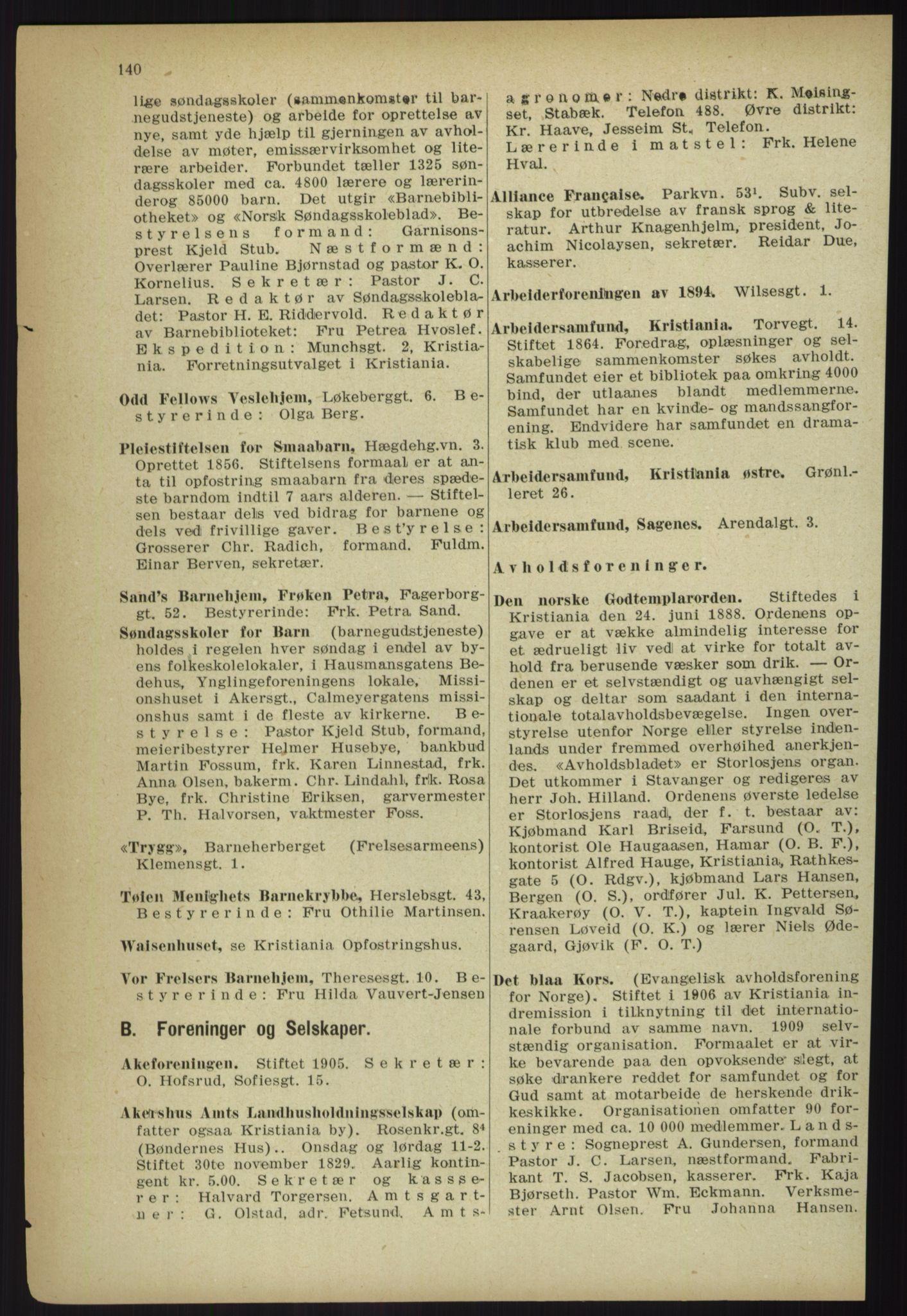 RA, Kristiania adressebok (publikasjon)*, 1918, s. 140