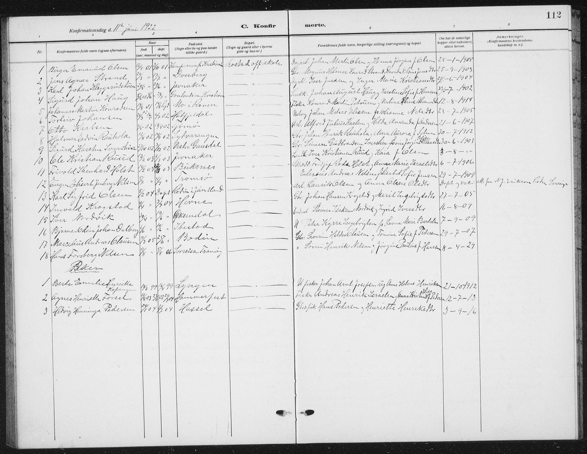 SAT, Ministerialprotokoller, klokkerbøker og fødselsregistre - Nord-Trøndelag, 721/L0209: Klokkerbok nr. 721C02, 1918-1940, s. 112