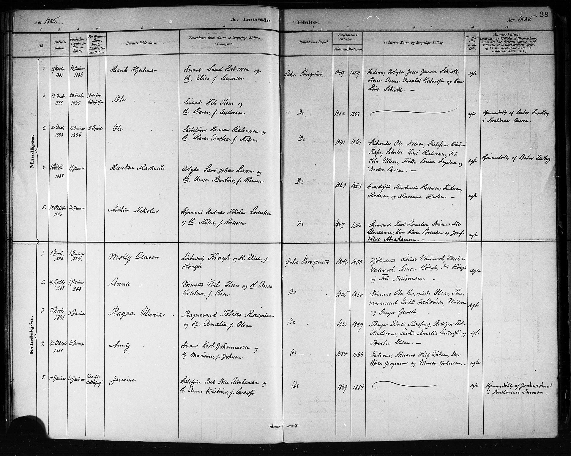 SAKO, Porsgrunn kirkebøker , G/Gb/L0005: Klokkerbok nr. II 5, 1883-1915, s. 28