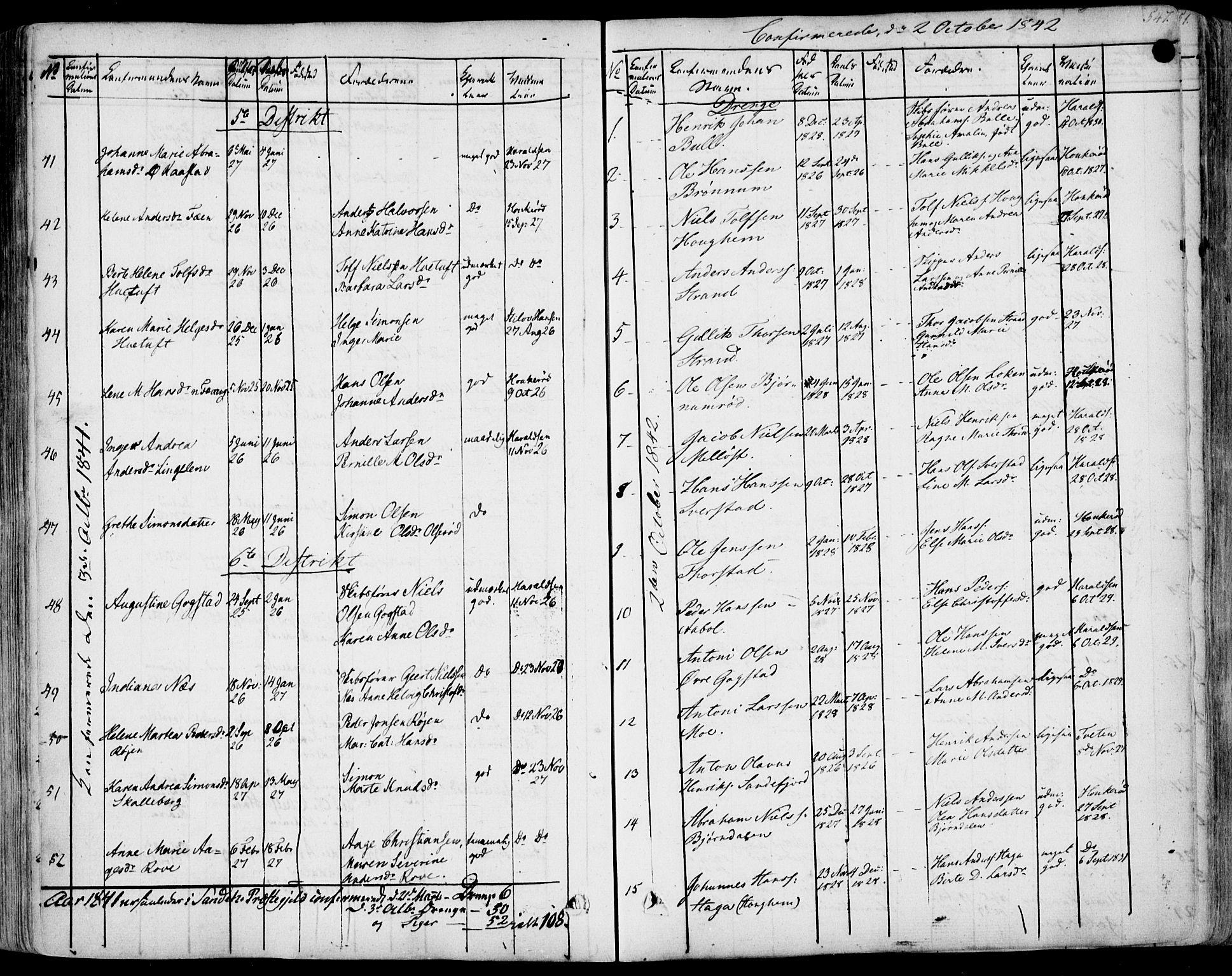SAKO, Sandar kirkebøker, F/Fa/L0005: Ministerialbok nr. 5, 1832-1847, s. 546-547
