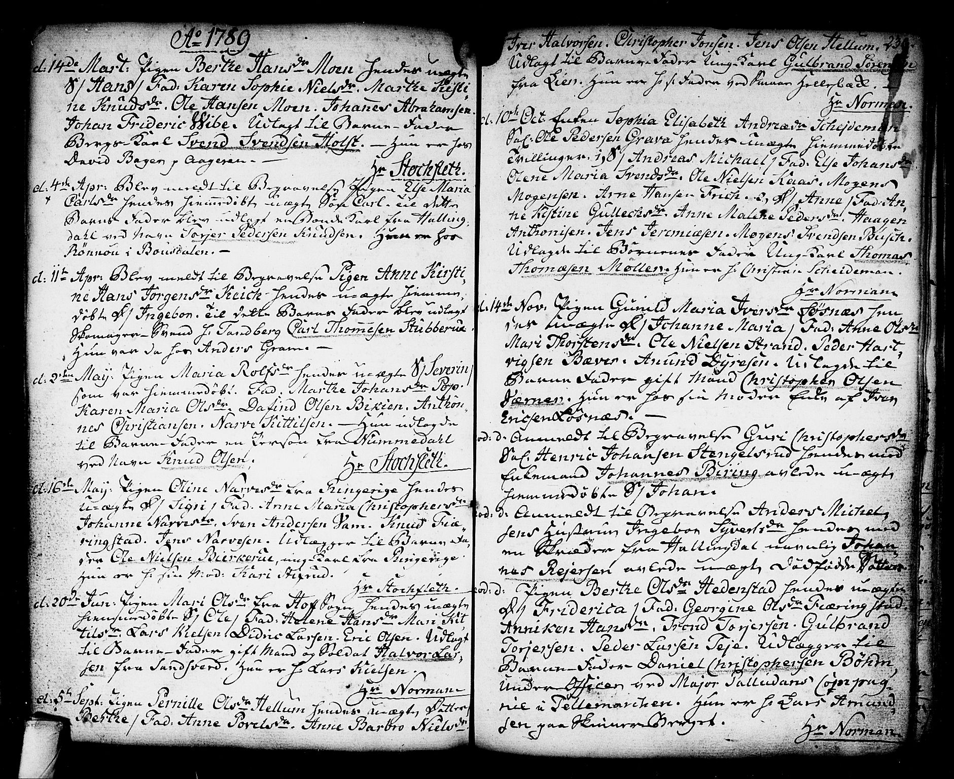 SAKO, Kongsberg kirkebøker, F/Fa/L0006: Ministerialbok nr. I 6, 1783-1797, s. 239