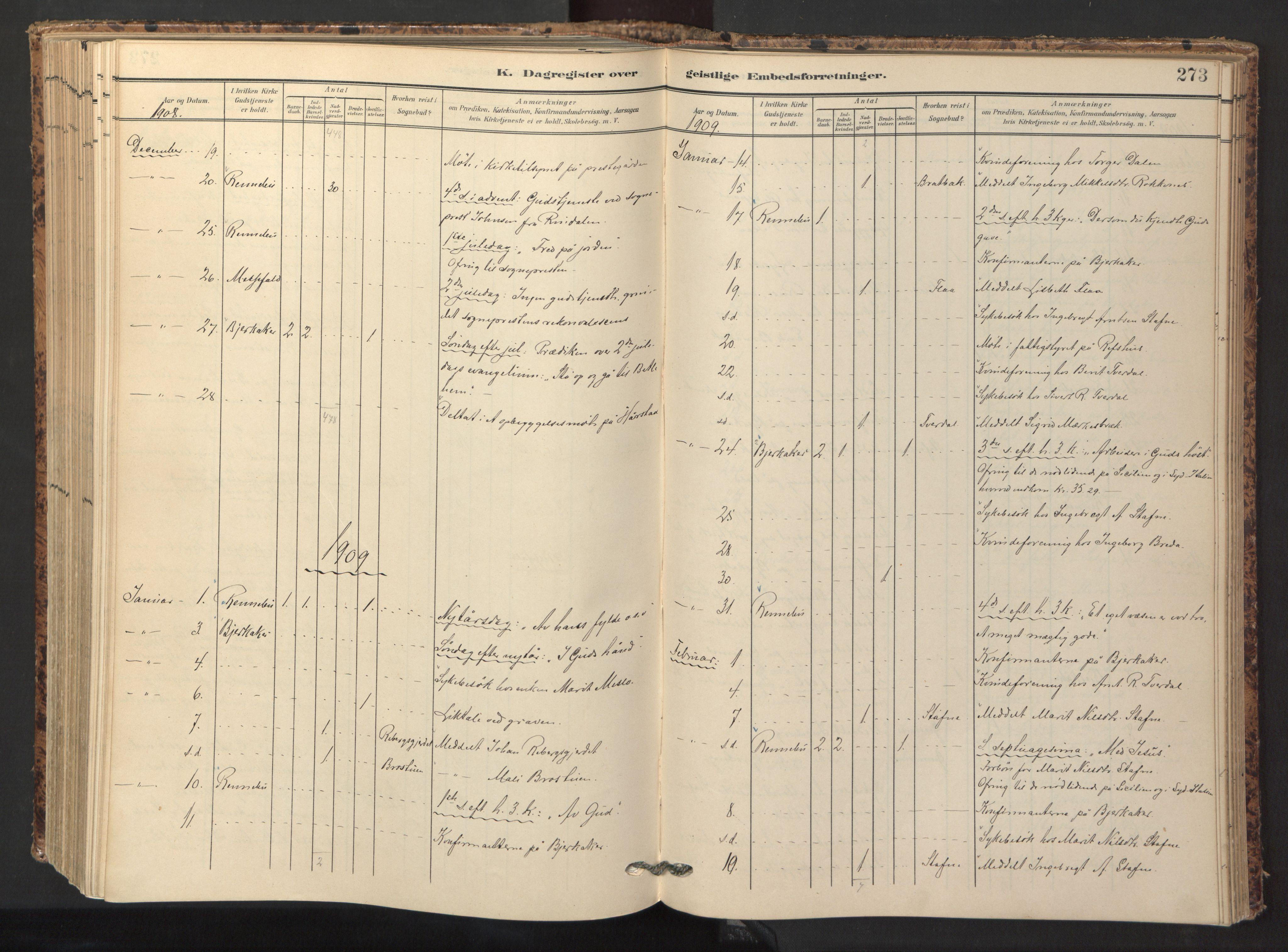 SAT, Ministerialprotokoller, klokkerbøker og fødselsregistre - Sør-Trøndelag, 674/L0873: Ministerialbok nr. 674A05, 1908-1923, s. 273