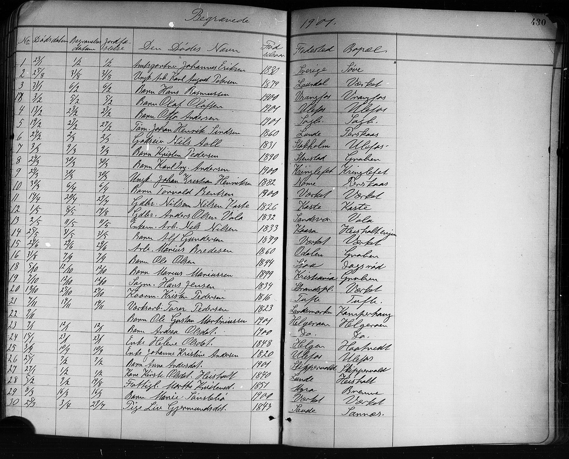 SAKO, Holla kirkebøker, G/Ga/L0005: Klokkerbok nr. I 5, 1891-1917, s. 430