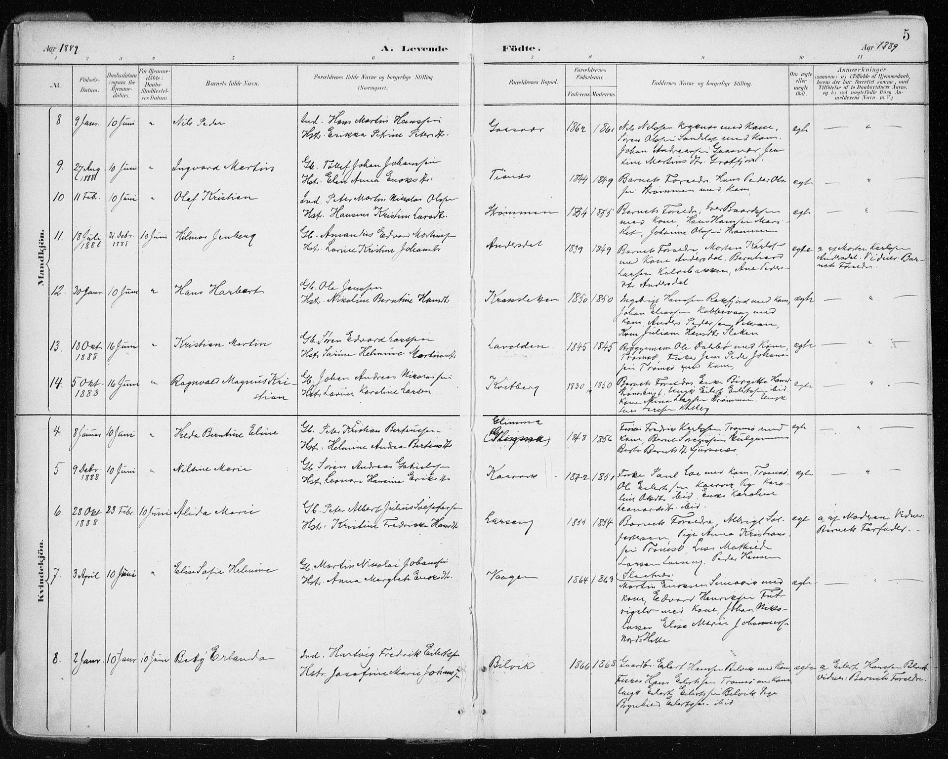 SATØ, Tromsøysund sokneprestkontor, G/Ga/L0005kirke: Ministerialbok nr. 5, 1888-1896, s. 5