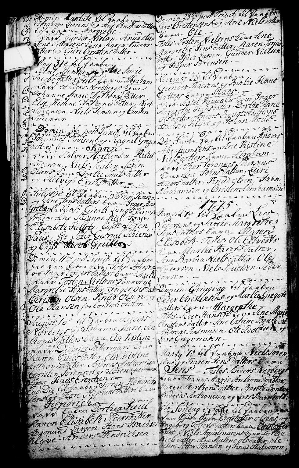SAKO, Porsgrunn kirkebøker , G/Ga/L0001: Klokkerbok nr. I 1, 1766-1790, s. 24-25