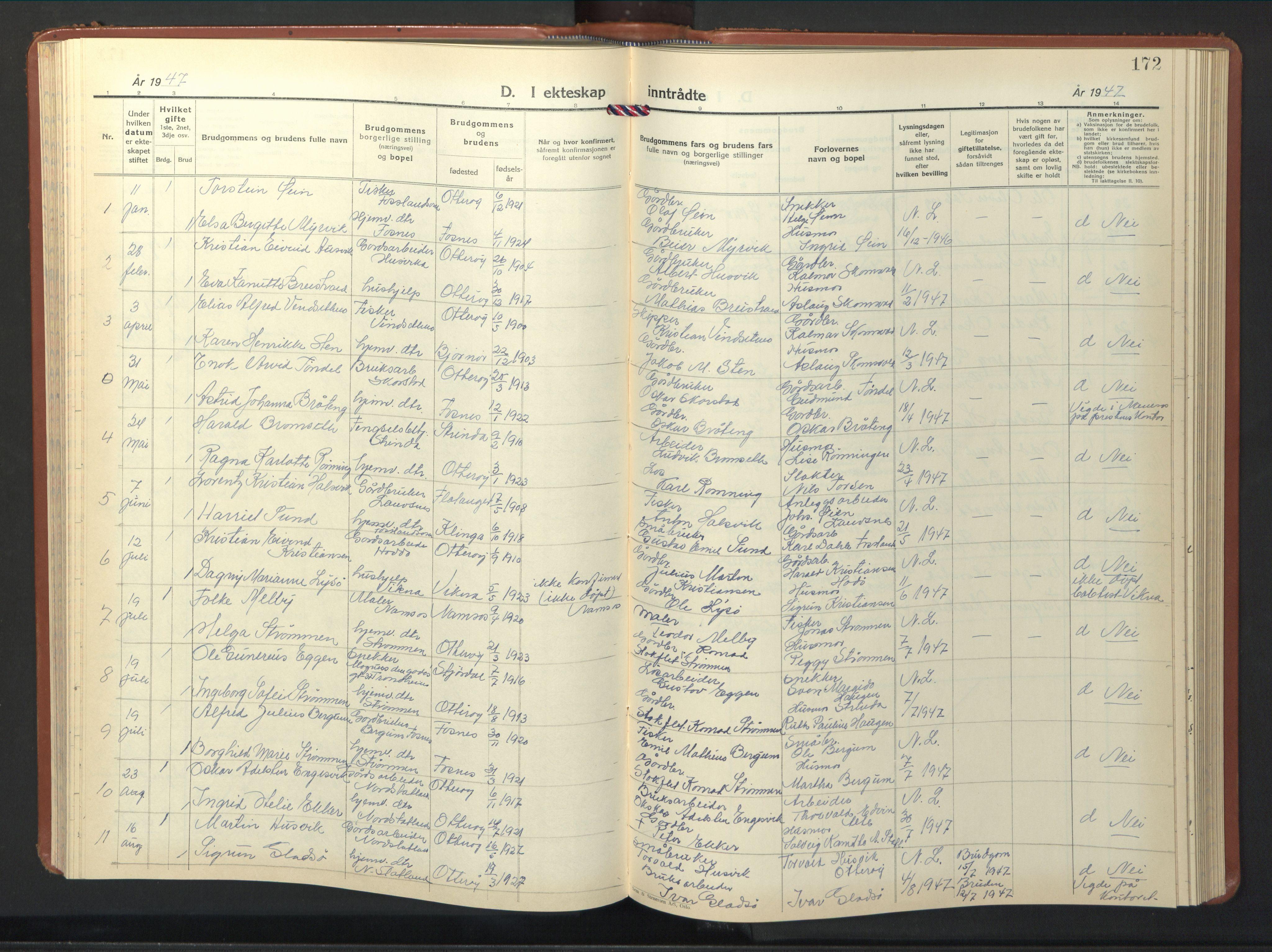 SAT, Ministerialprotokoller, klokkerbøker og fødselsregistre - Nord-Trøndelag, 774/L0631: Klokkerbok nr. 774C02, 1934-1950, s. 172