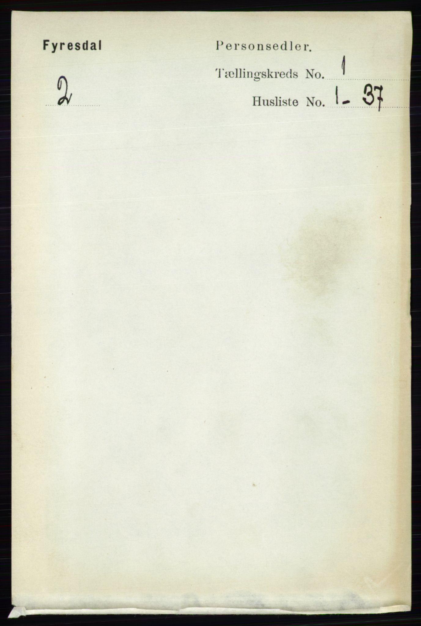 RA, Folketelling 1891 for 0831 Fyresdal herred, 1891, s. 62